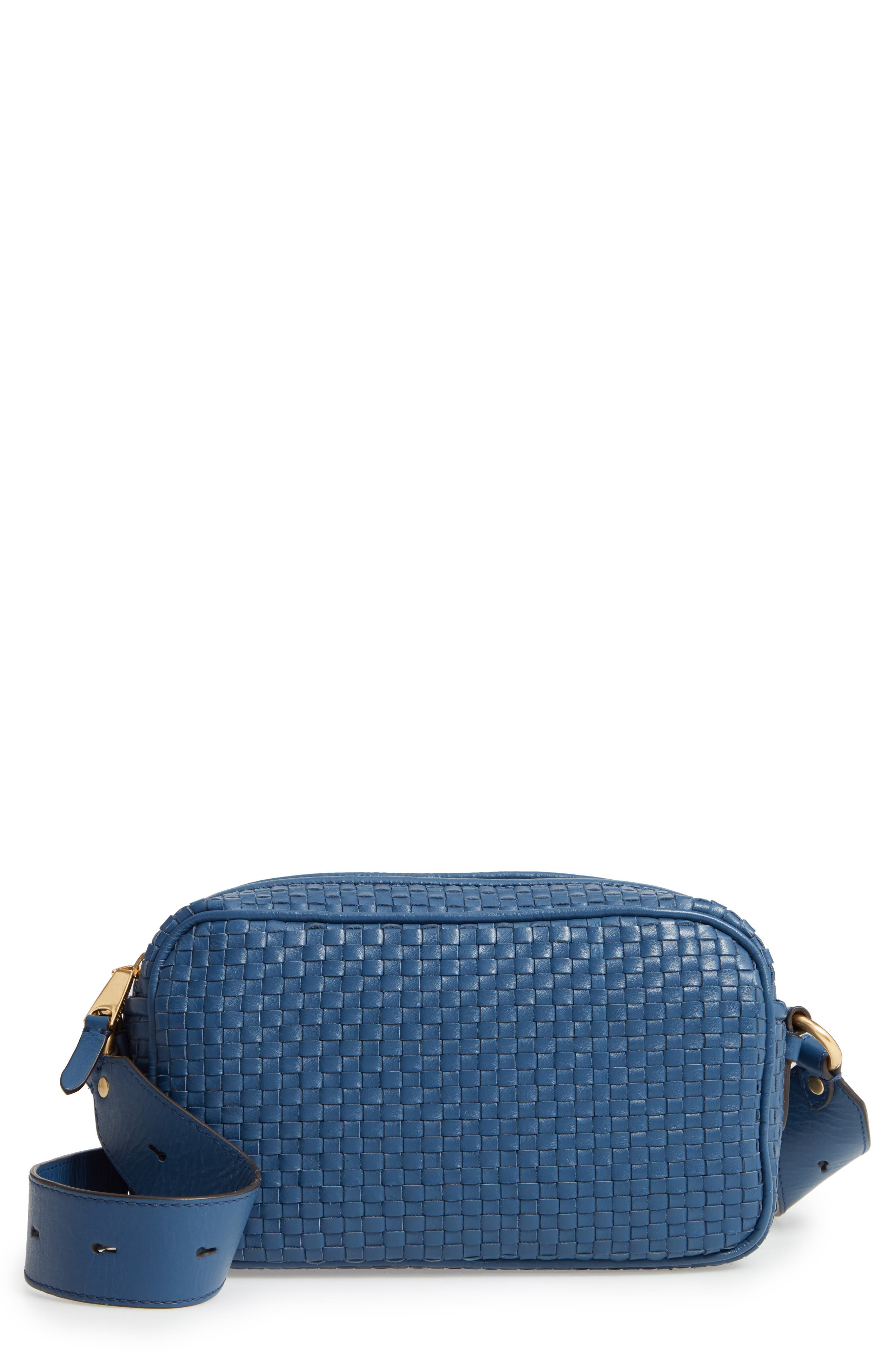 Zoe RFID Woven Leather Camera Bag,                             Main thumbnail 1, color,                             Navy Peony