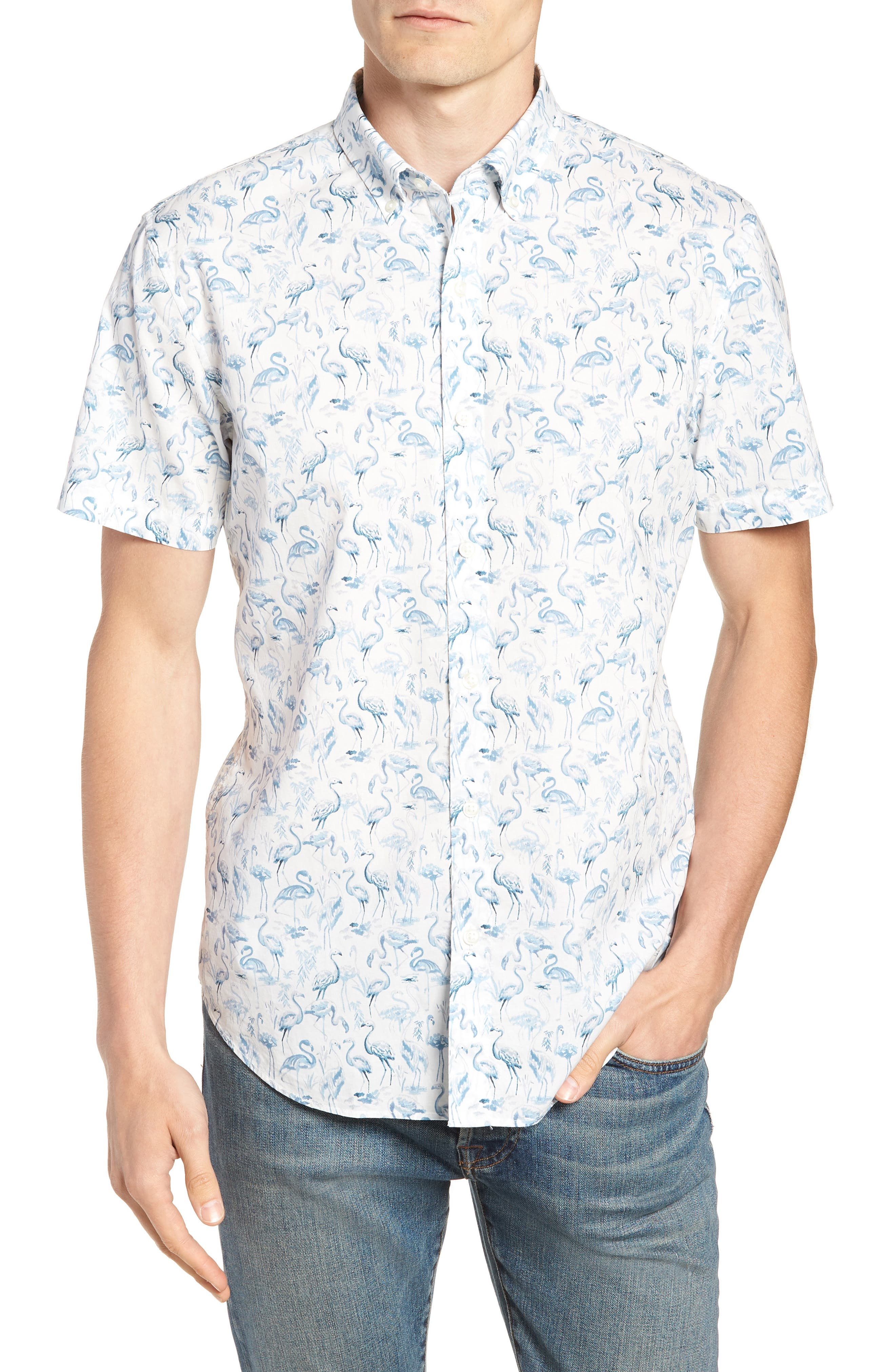Riviera Slim Fit Flamingo Print Sport Shirt,                         Main,                         color, Watercolor Flamingo - Blue