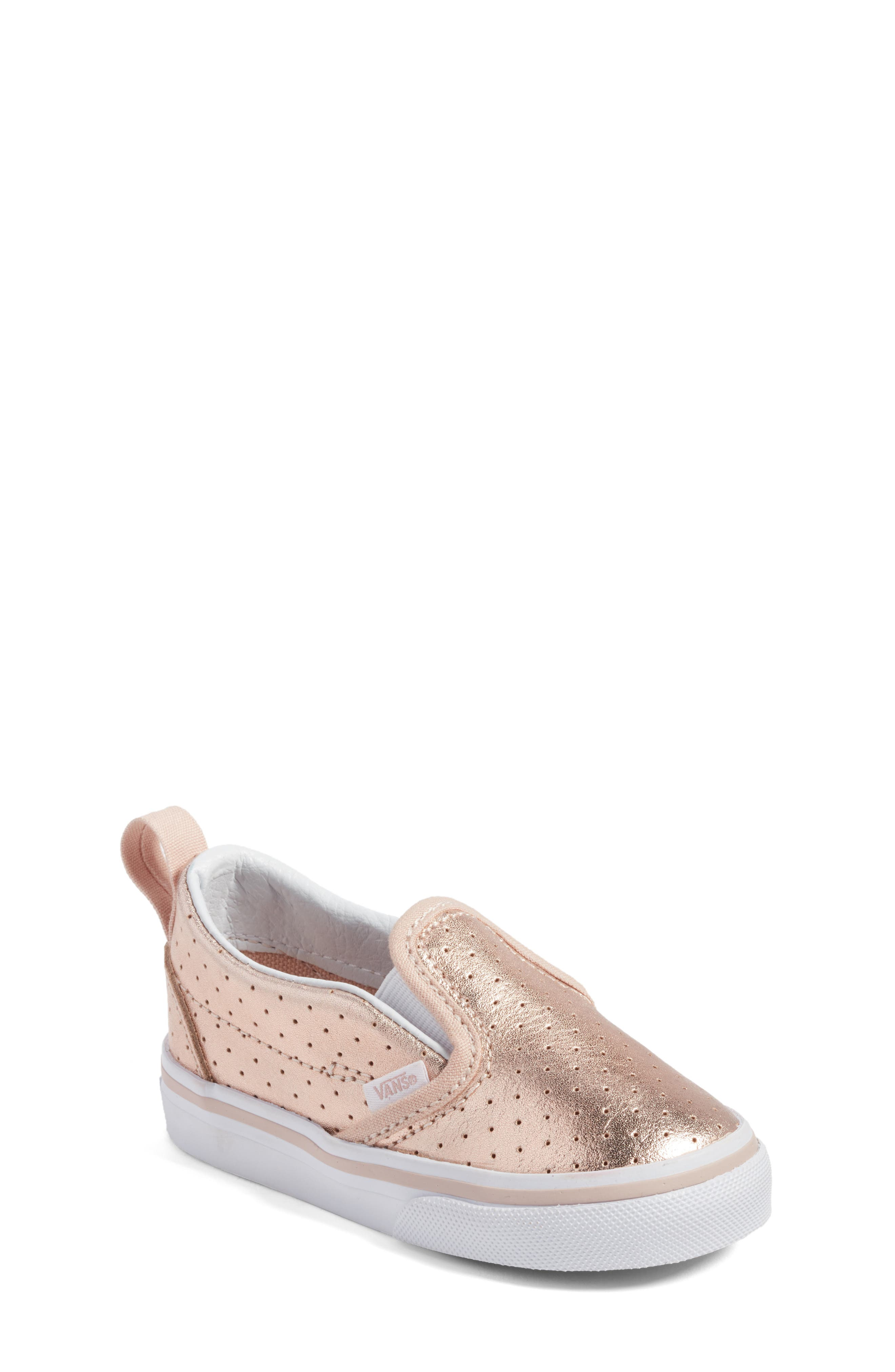 'Classic' Slip-On Sneaker,                             Main thumbnail 1, color,                             Rose Gold Perf Leather