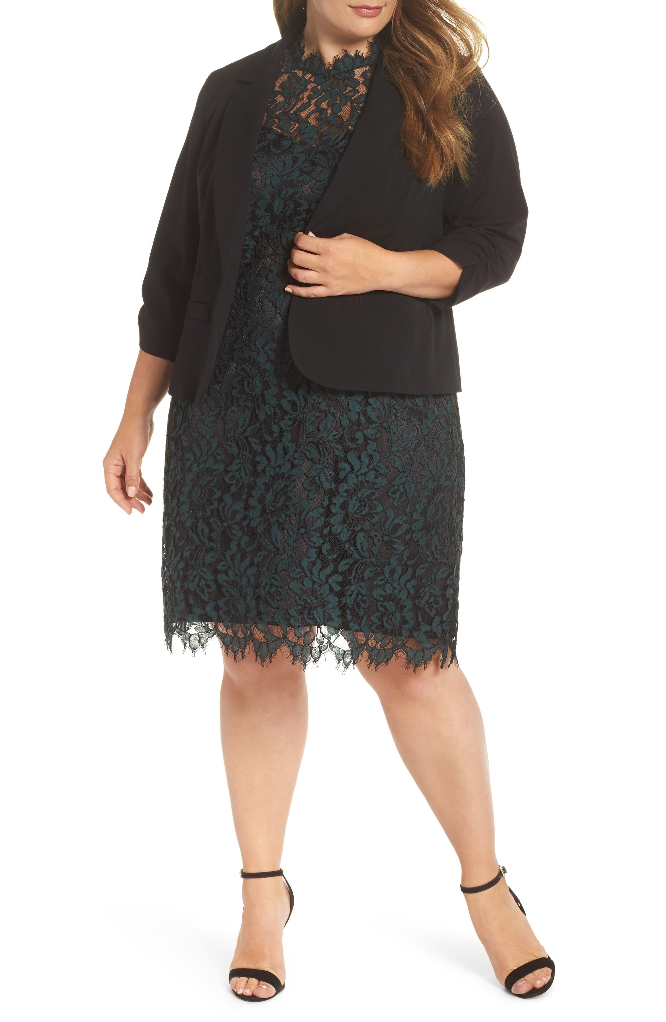 ELIZA J Ruched Sleeve Blazer in Black