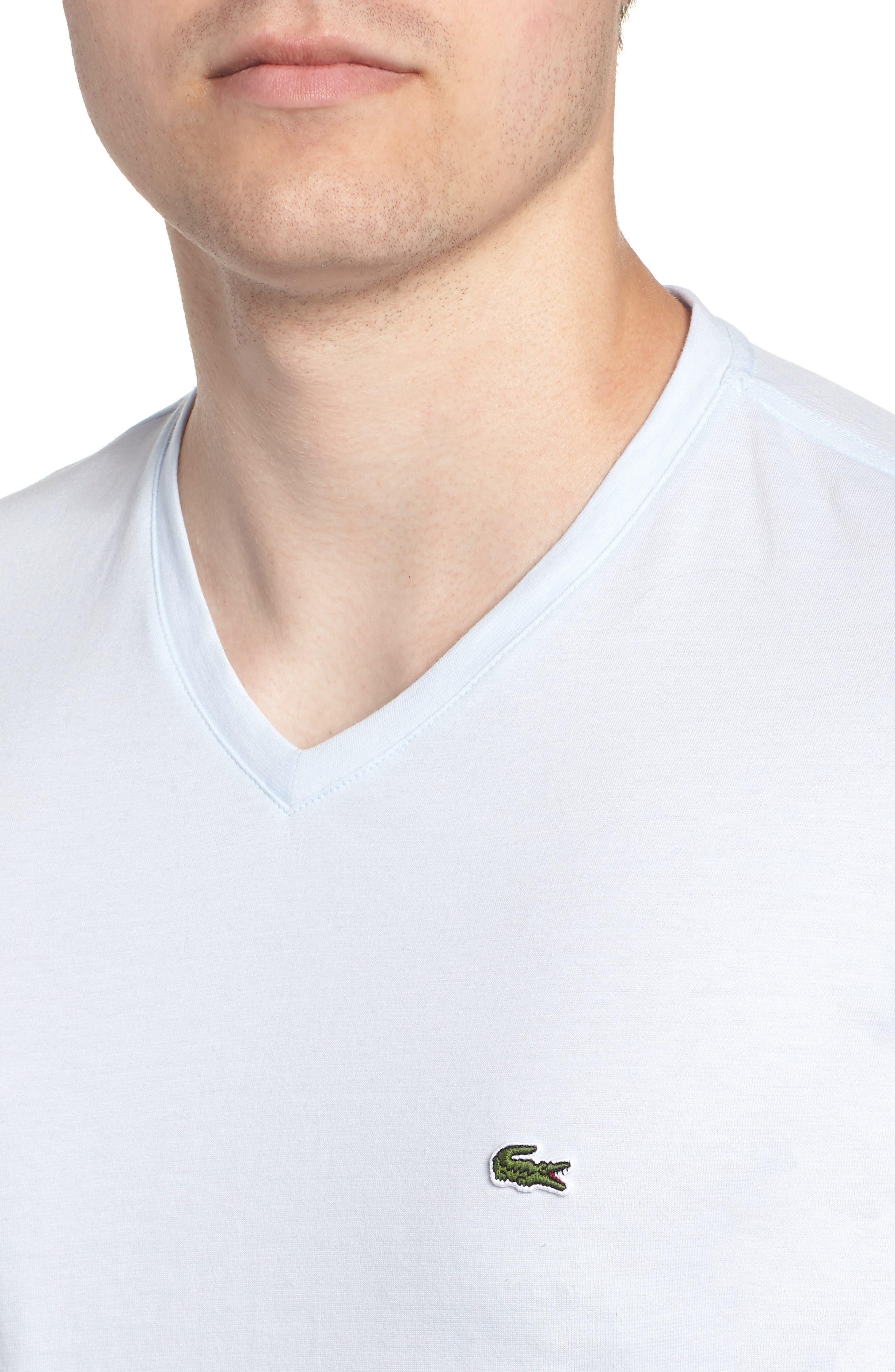 V-Neck Cotton T-Shirt,                             Alternate thumbnail 5, color,                             Rill/ White