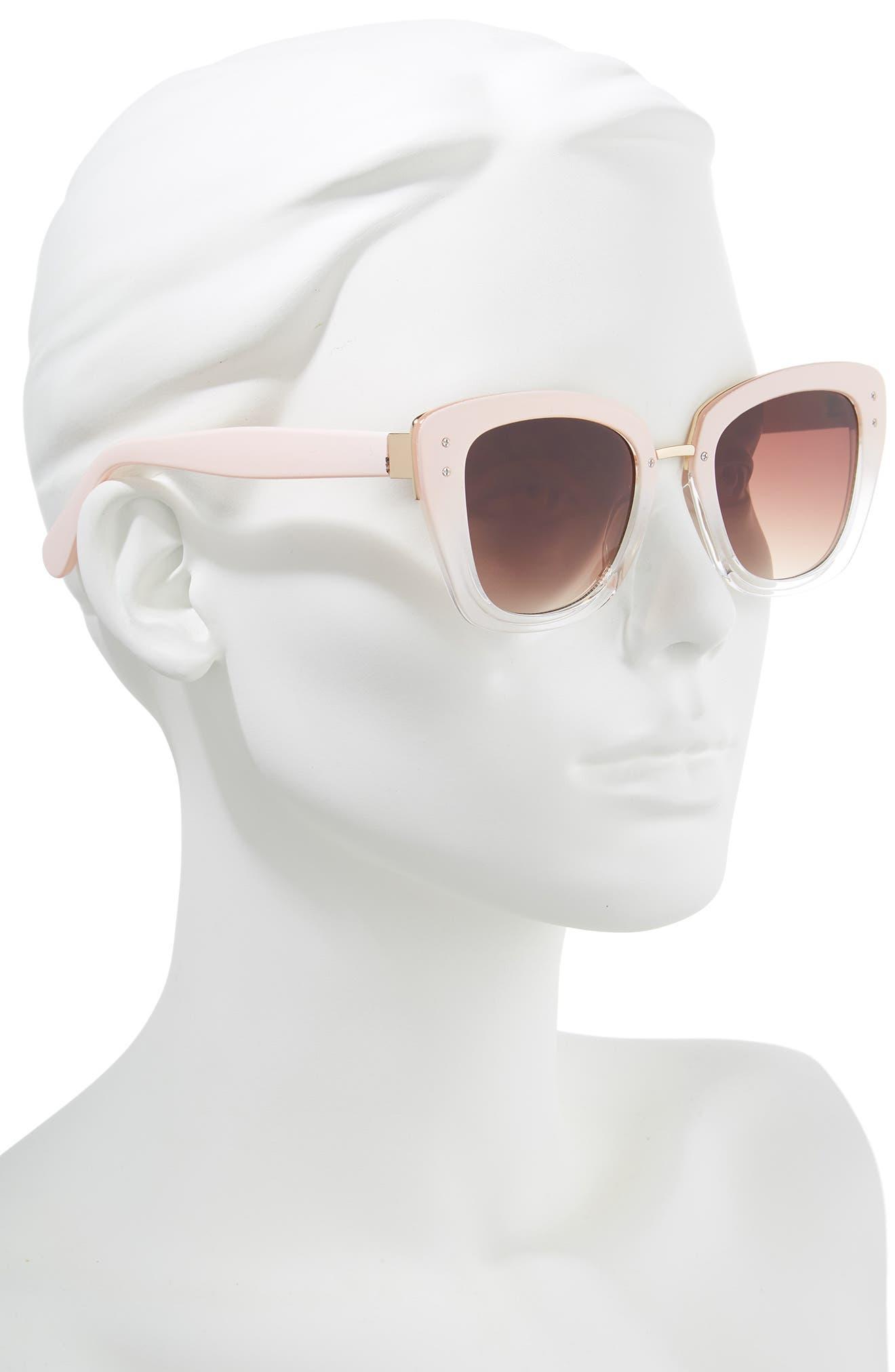 51mm Ombré Square Sunglasses,                             Alternate thumbnail 2, color,                             Pink/ Clear