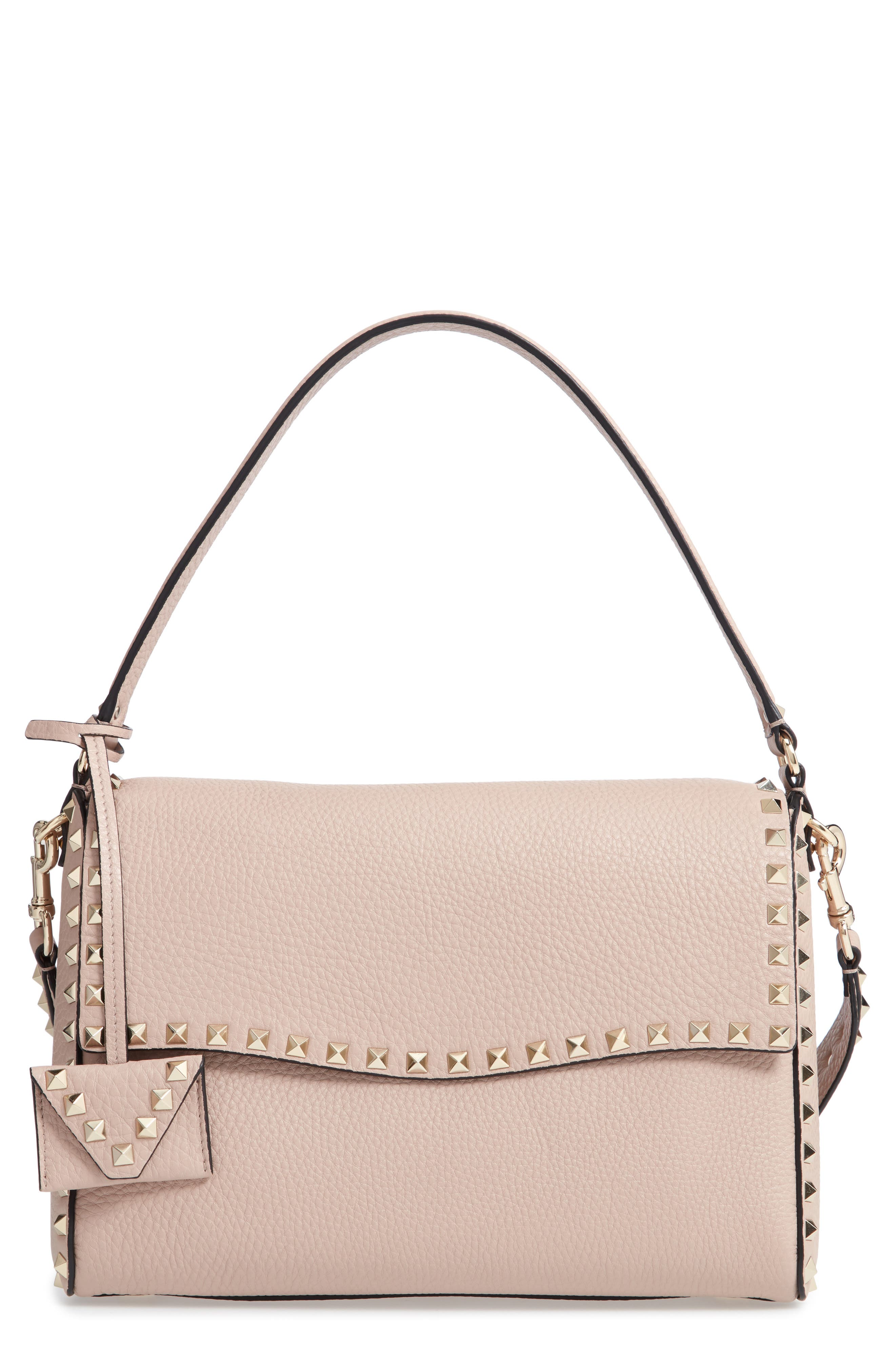 MEDIUM ROCKSTUD LEATHER SHOULDER BAG - BEIGE