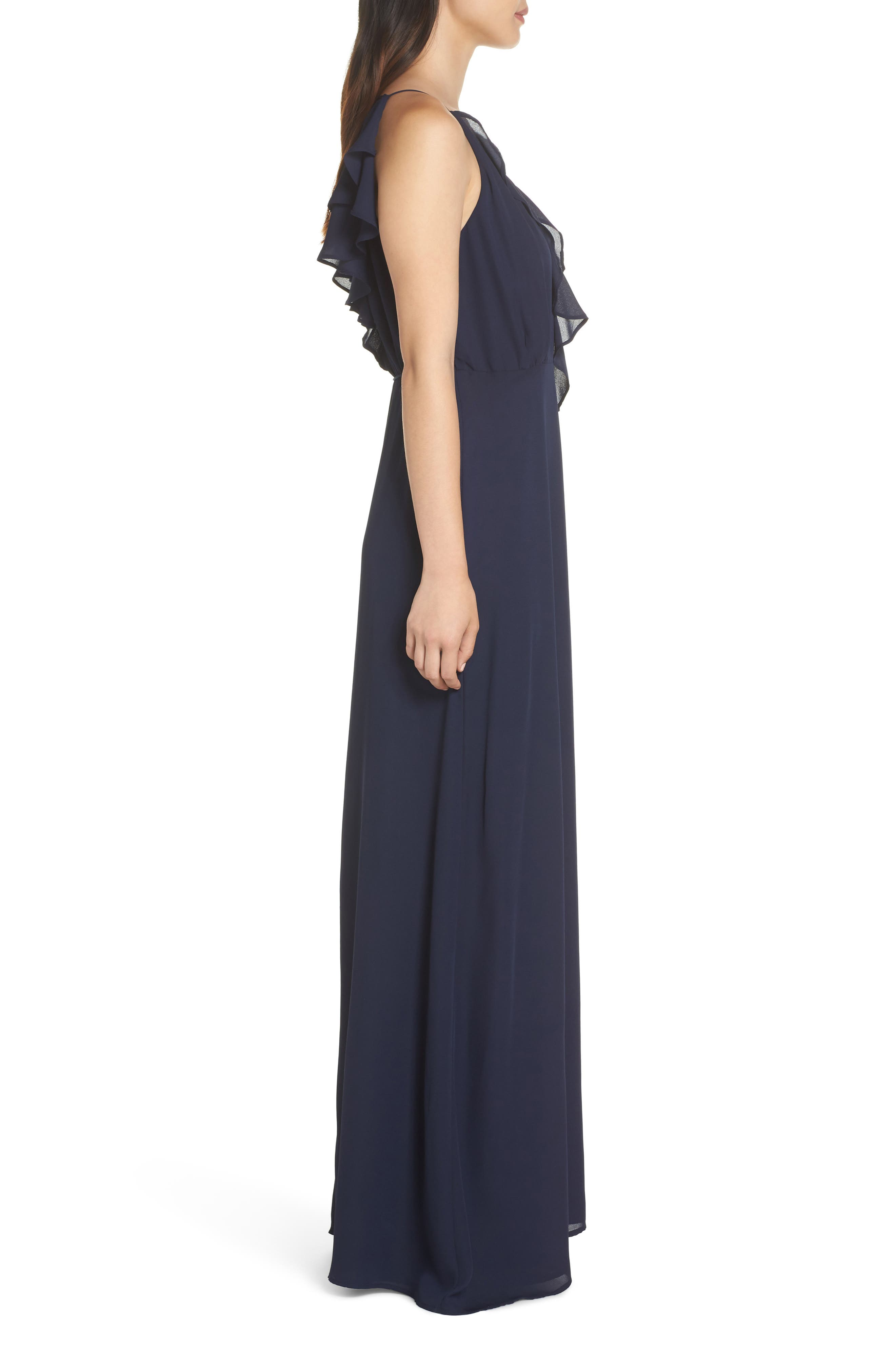 Jamie Ruffle Wrap Gown,                             Alternate thumbnail 3, color,                             Navy
