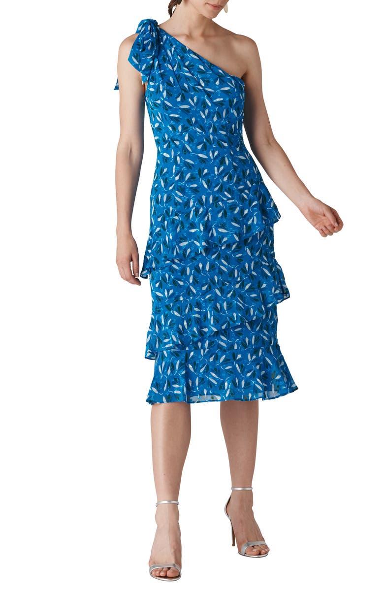 Almond Print One-Shoulder Dobby Dress
