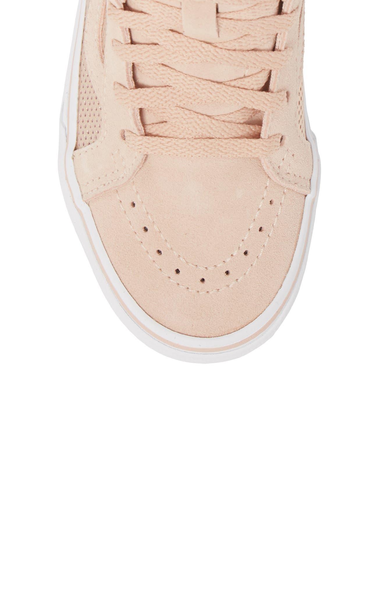 SK8-Hi Zip Sneaker,                             Alternate thumbnail 5, color,                             Rose Gold Suede Leather