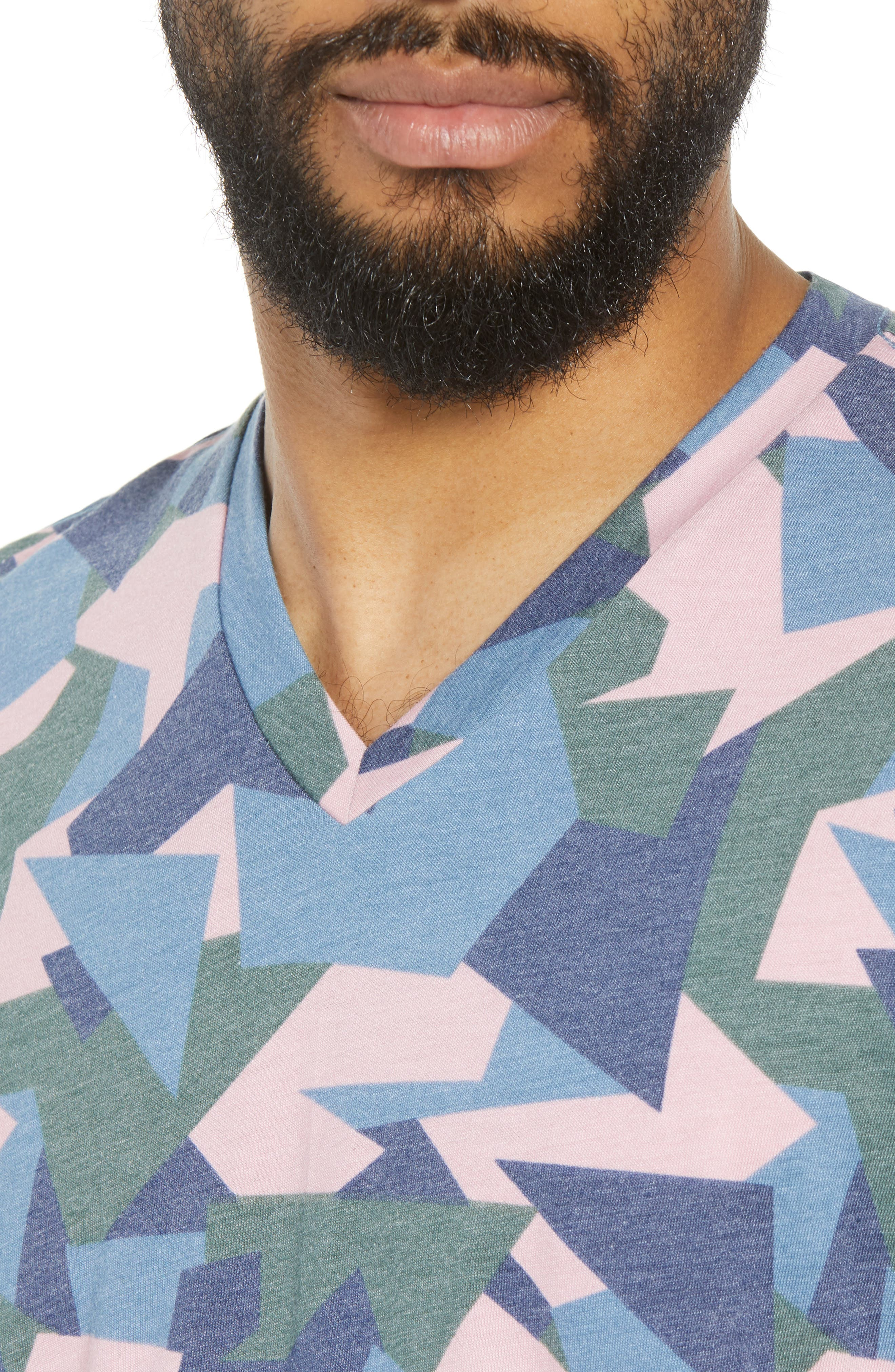 V-Neck T-Shirt,                             Alternate thumbnail 4, color,                             Pink / Grey Abstract Geo Camo