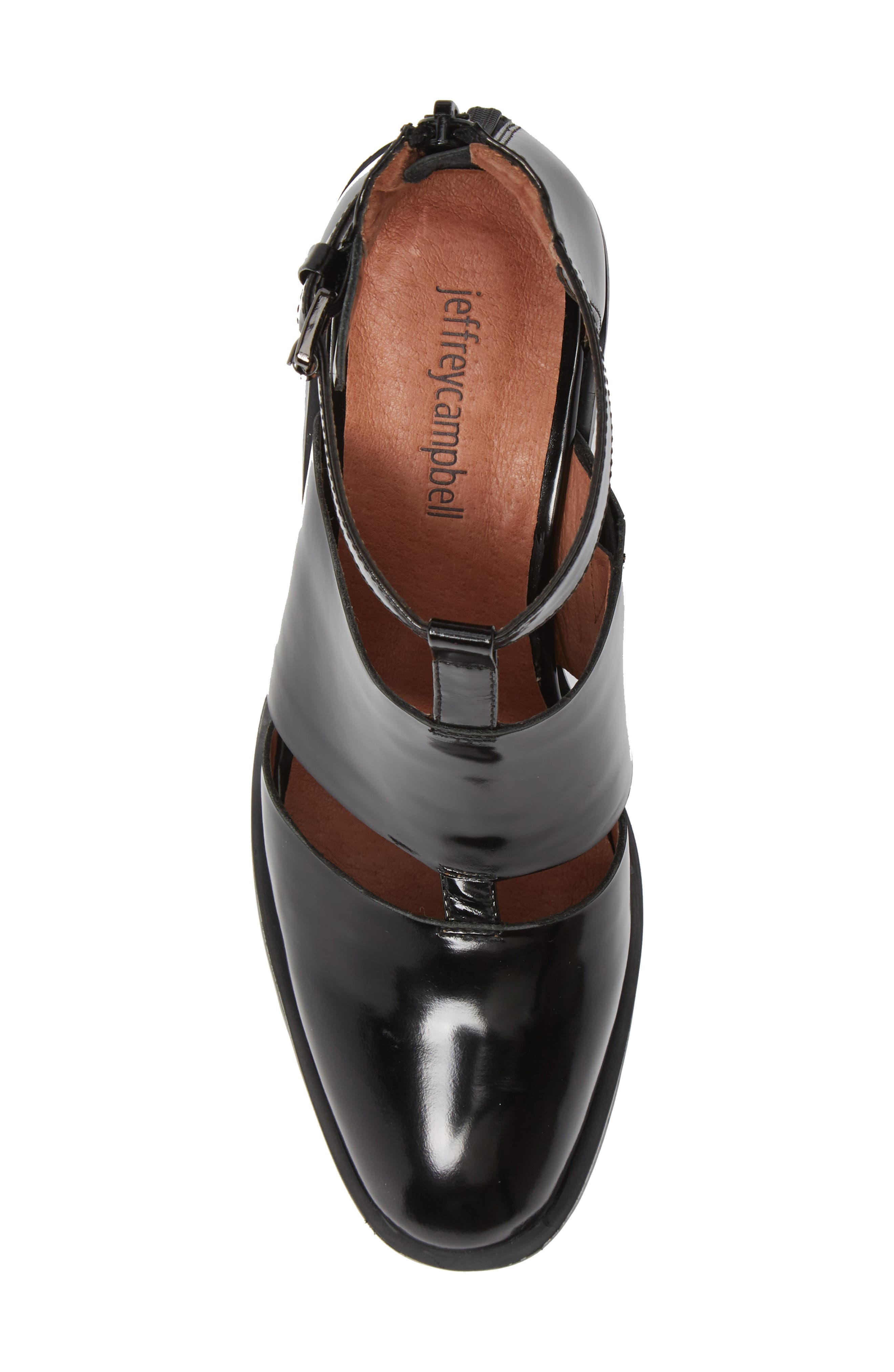 'Melina' T-Strap Shoe,                             Alternate thumbnail 4, color,                             Black Leather
