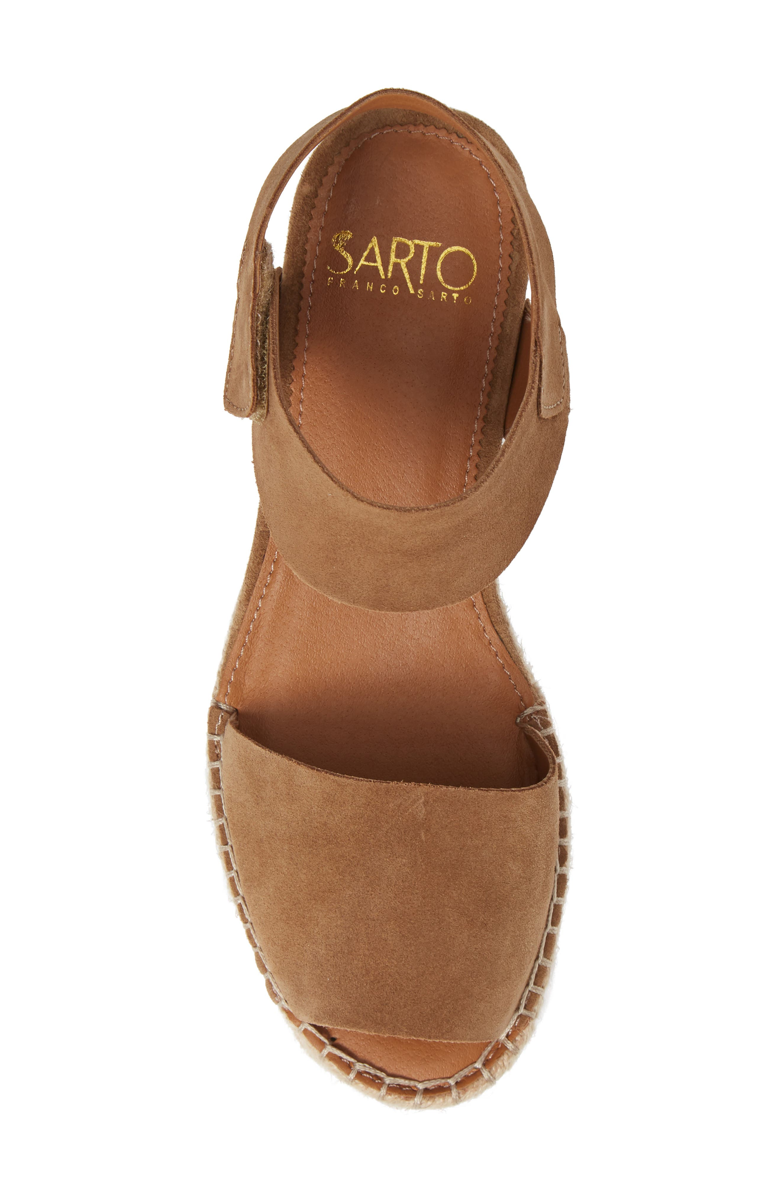 Oak Platform Wedge Espadrille,                             Alternate thumbnail 5, color,                             Toasted Barley Suede