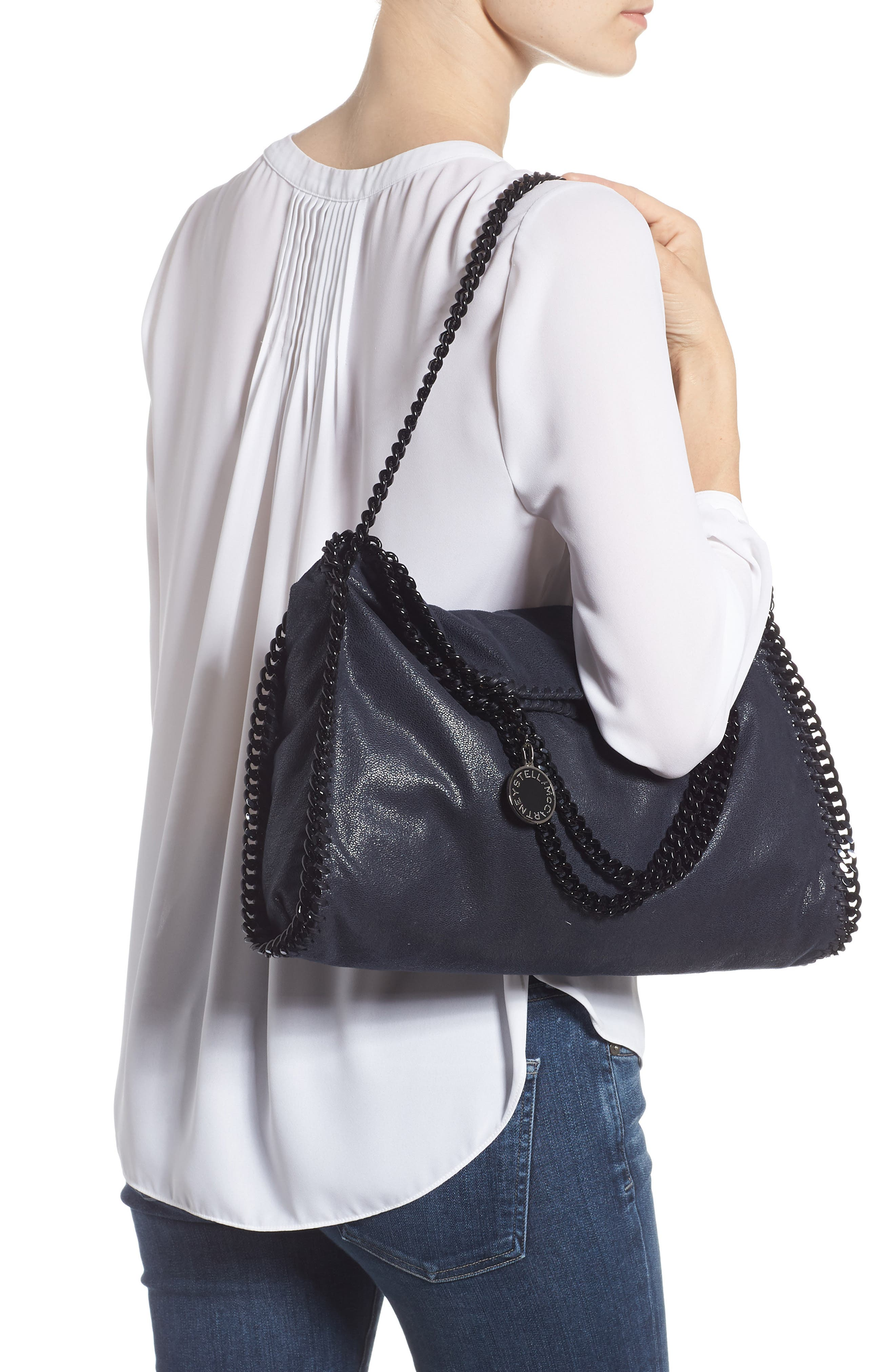 Falabella Shaggy Deer Faux Leather Tote,                             Alternate thumbnail 2, color,                             Navy
