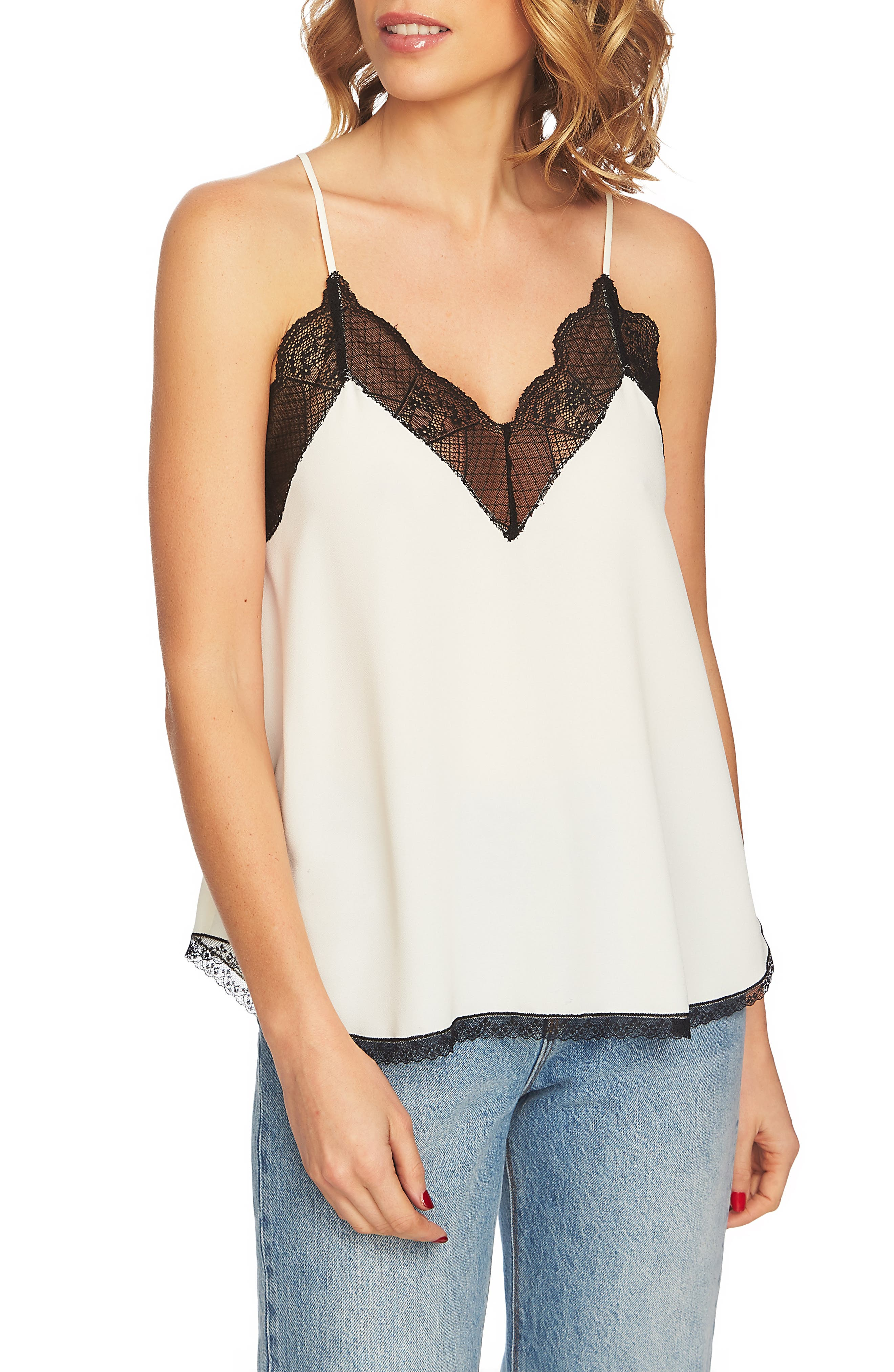 Lace Trim Racerback Cami,                         Main,                         color, Soft Ecru