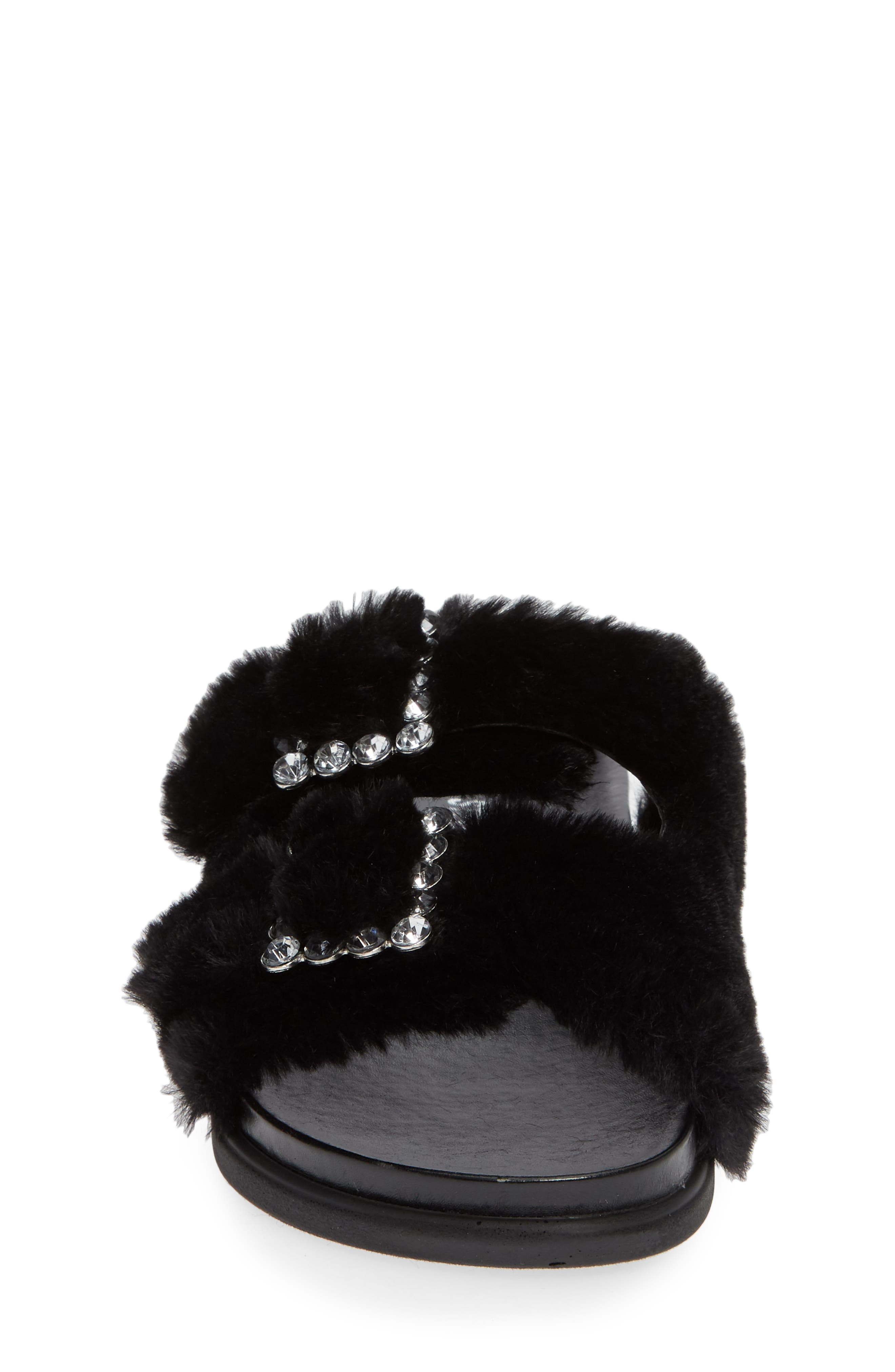 Faux Fur Slide Sandal,                             Alternate thumbnail 4, color,                             Black