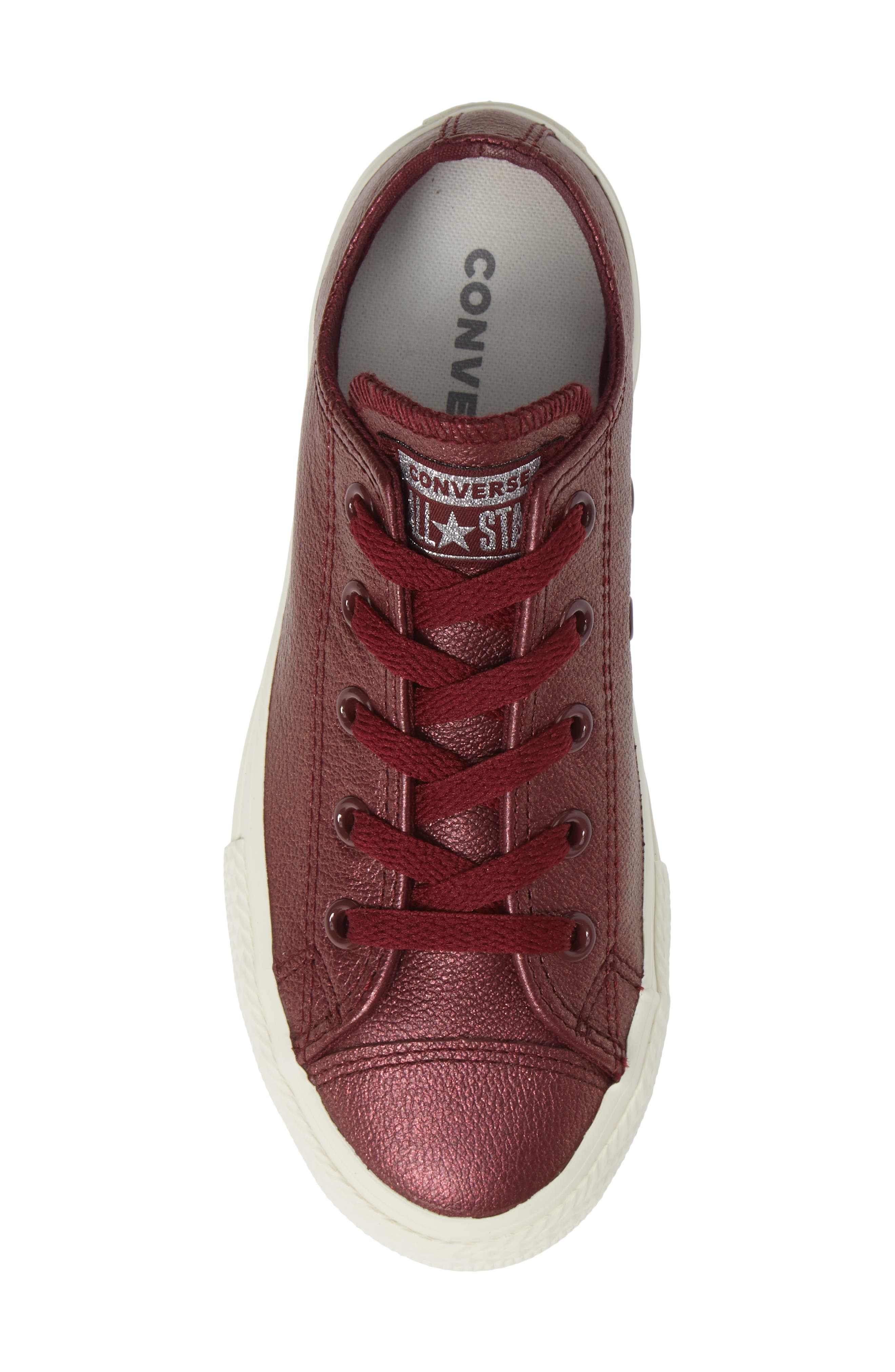 Chuck Taylor<sup>®</sup> All Star<sup>®</sup> Metallic Faux Leather Ox Sneaker,                             Alternate thumbnail 4, color,                             Dark Burgundy