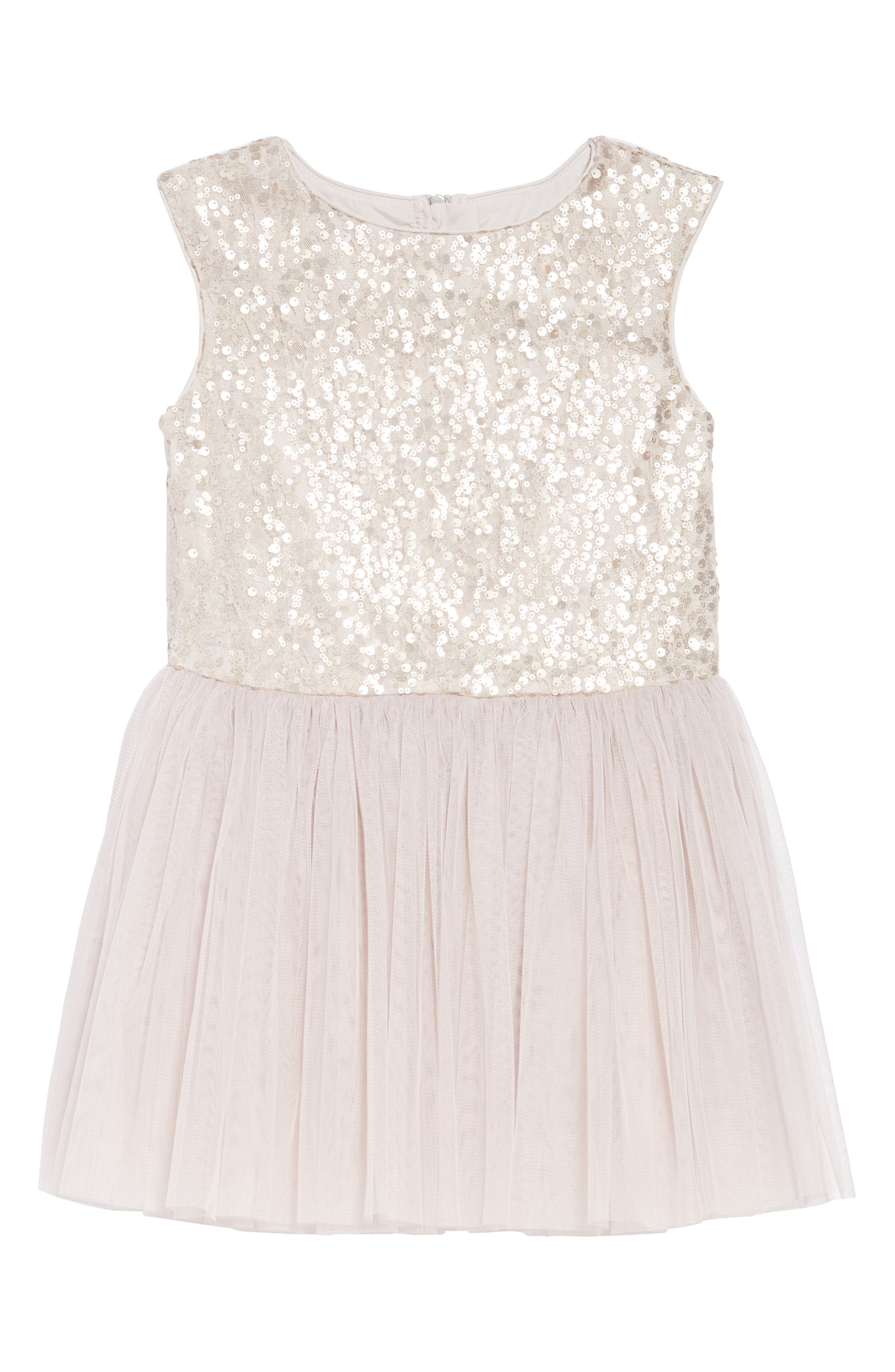 Sequin & Tulle Dress,                             Main thumbnail 1, color,                             Taupe