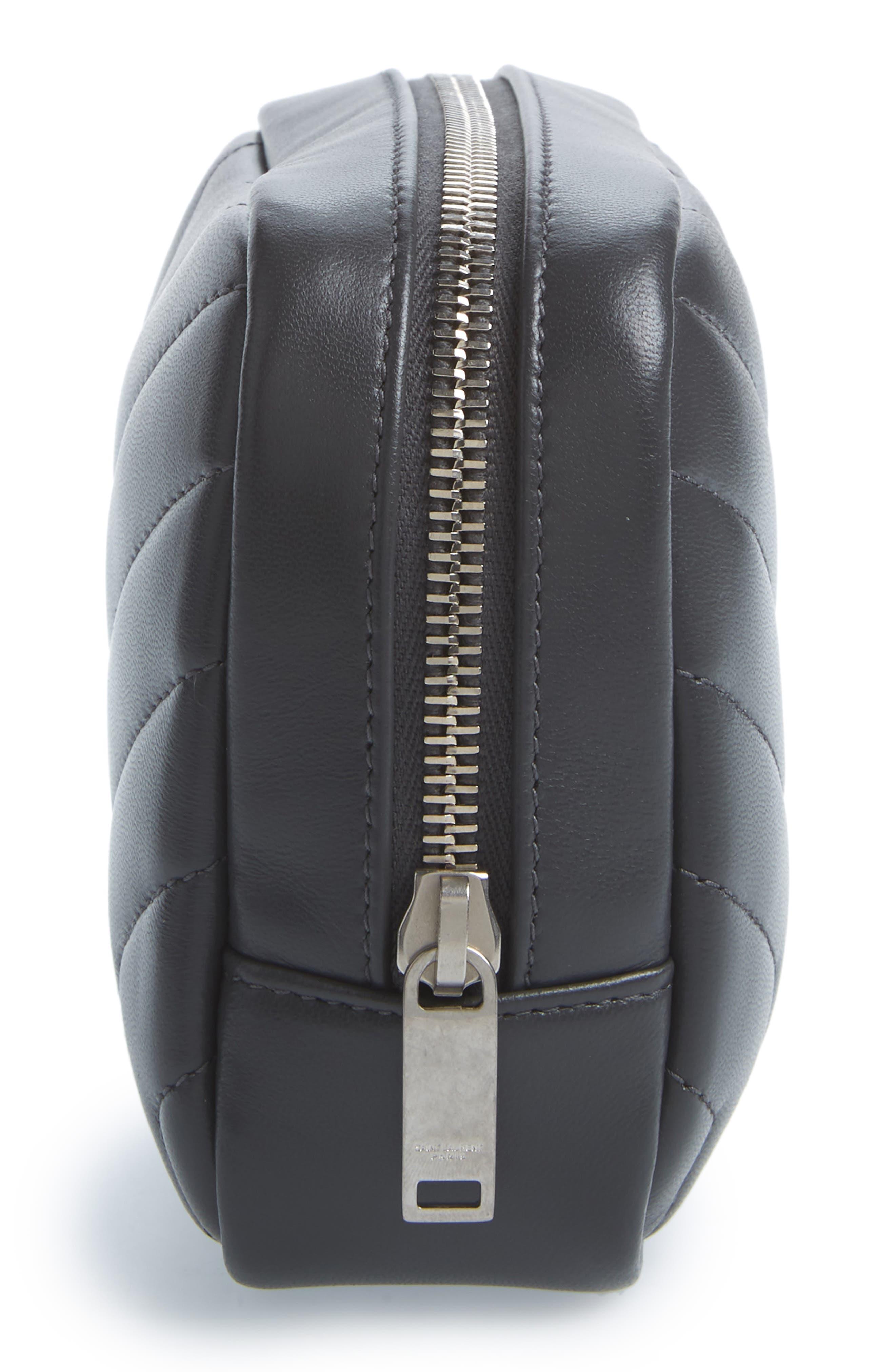 Loulou Matelassé Leather Cosmetics Bag,                             Alternate thumbnail 3, color,                             Storm