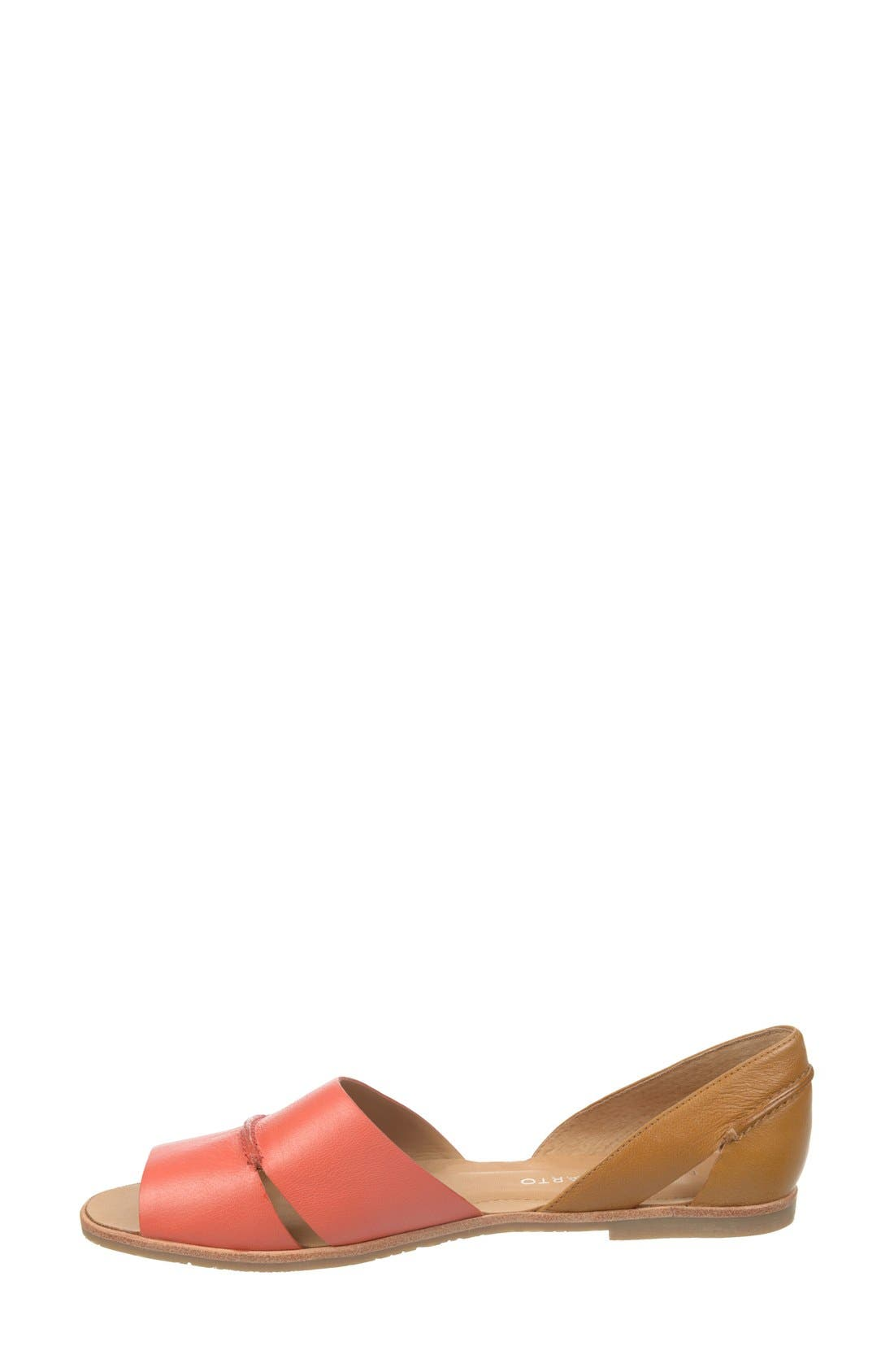 'Vivace' Leather d'Orsay Flat,                             Alternate thumbnail 2, color,                             Coral/ Tan
