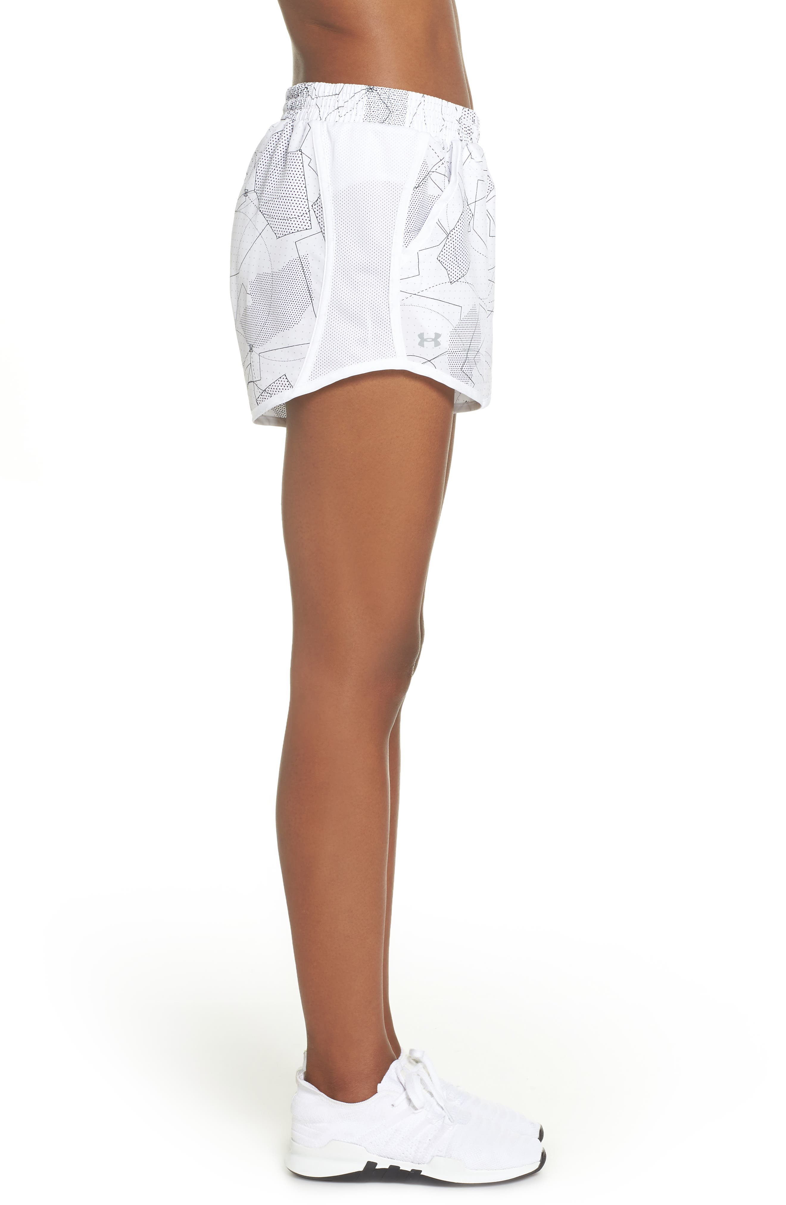 Fly-By Print Shorts,                             Alternate thumbnail 6, color,                             White/ White/ Reflective