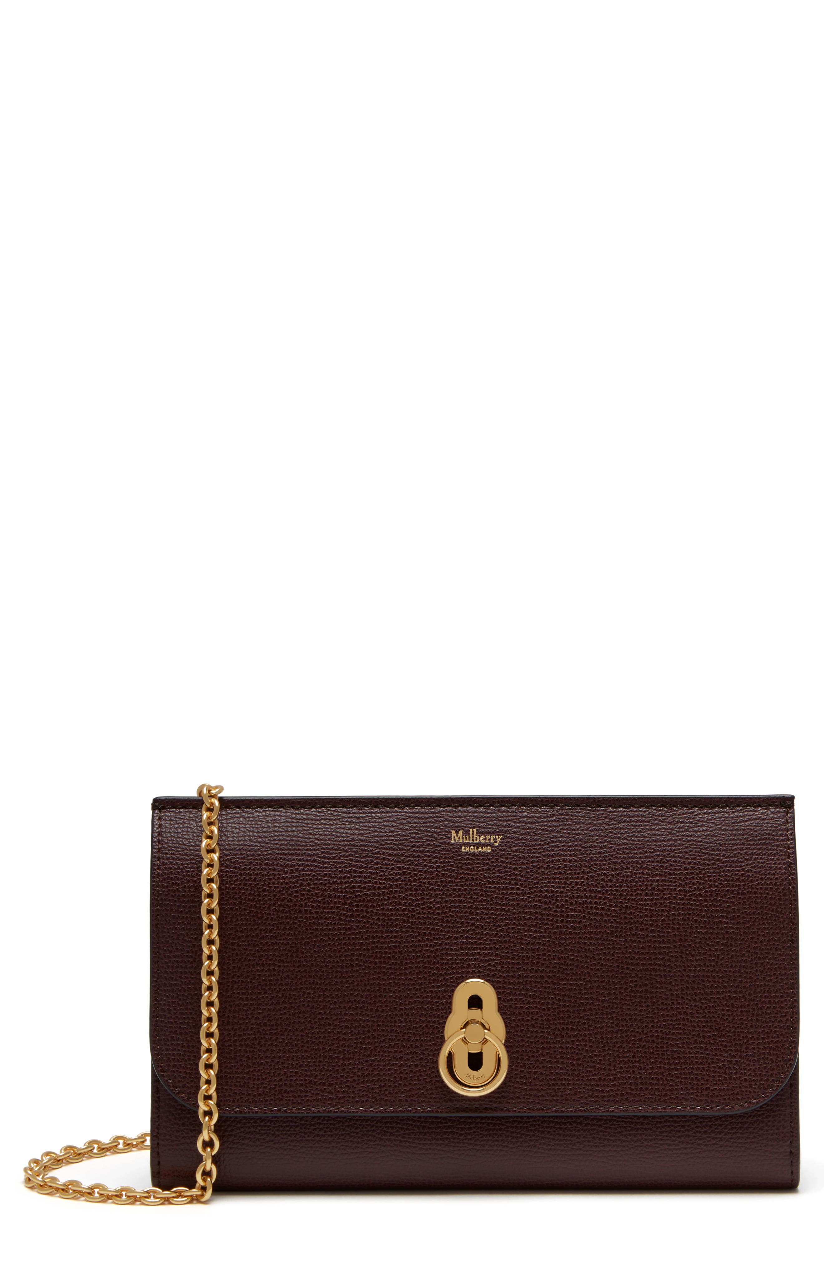 MULBERRY Amberley Calfskin Leather Clutch in Oxblood