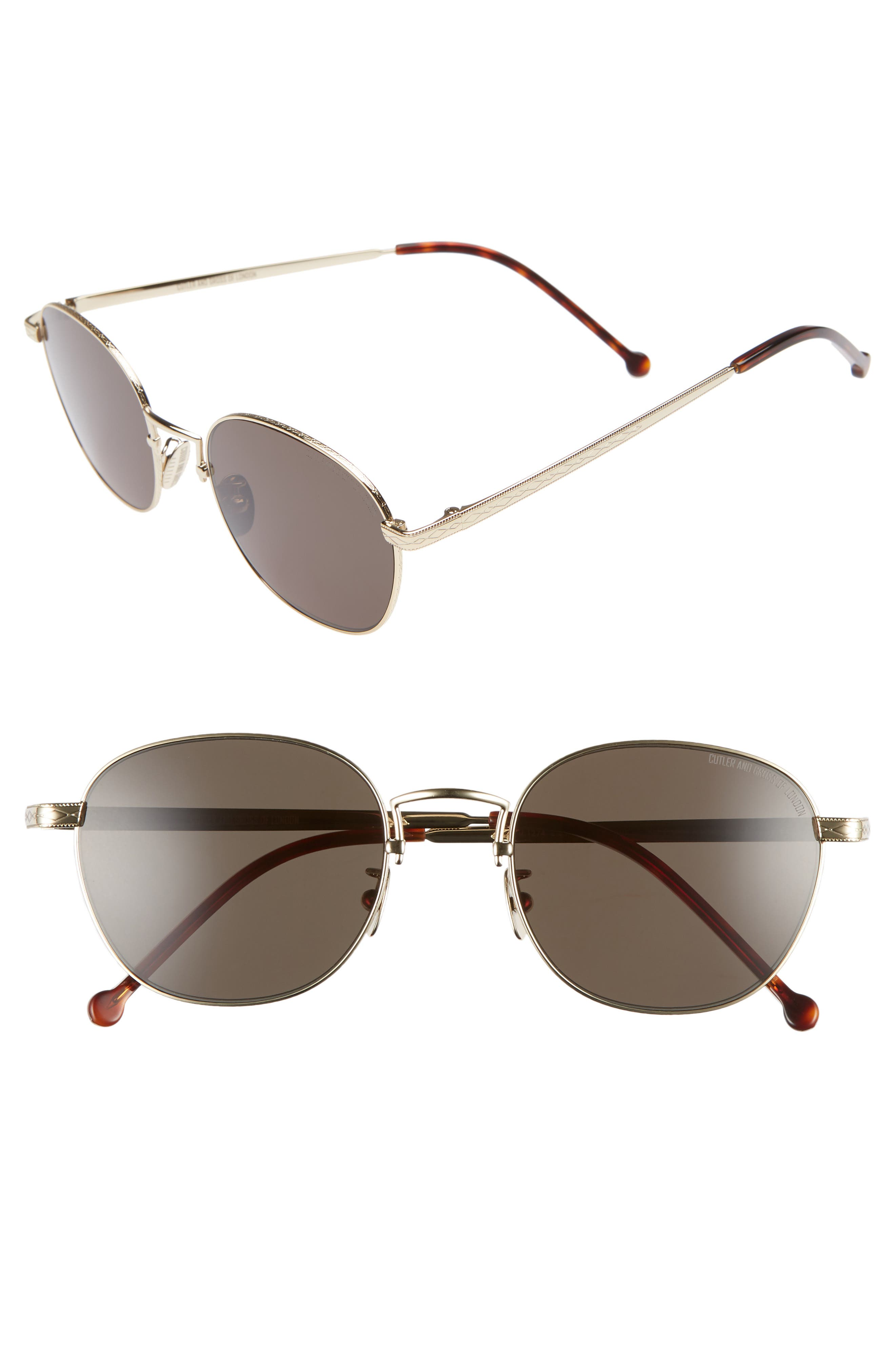 CUTLER AND GROSS 52MM POLARIZED ROUND SUNGLASSES - ANTIQUE GOLD/ GREEN