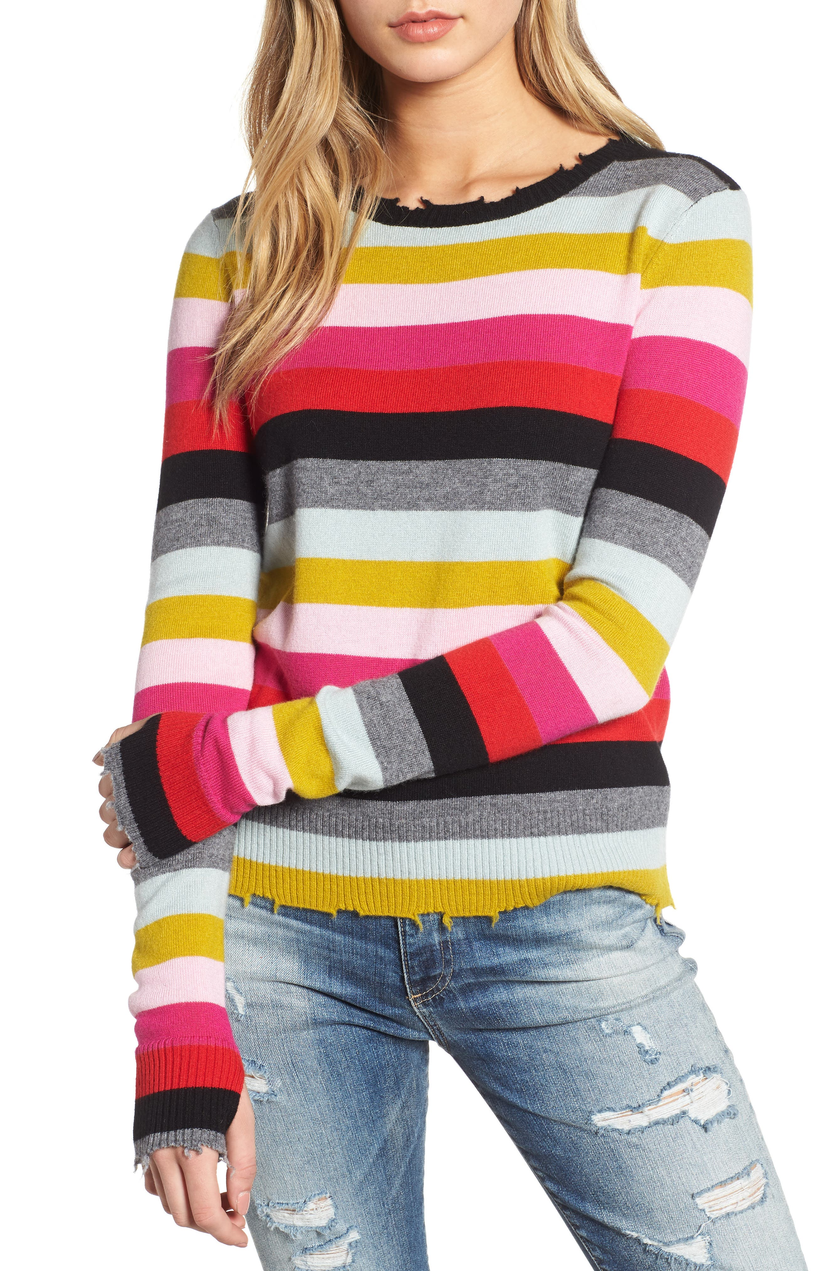 MULTISTRIPE RAW EDGE WOOL & CASHMERE BLEND SWEATER