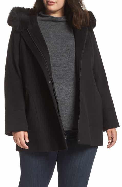 16b32864a54 Kristen Blake Genuine Fox Fur Trim Hooded Jacket (Plus Size)