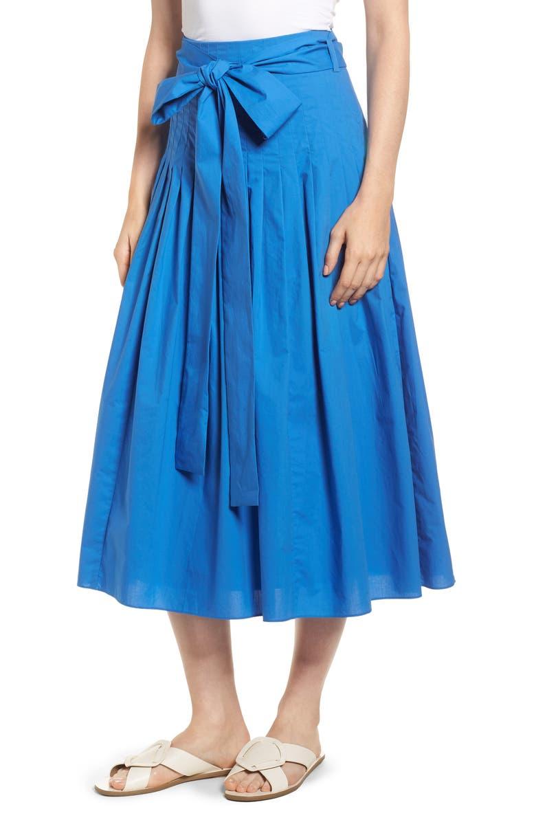 Pleat Cotton Poplin Midi Skirt