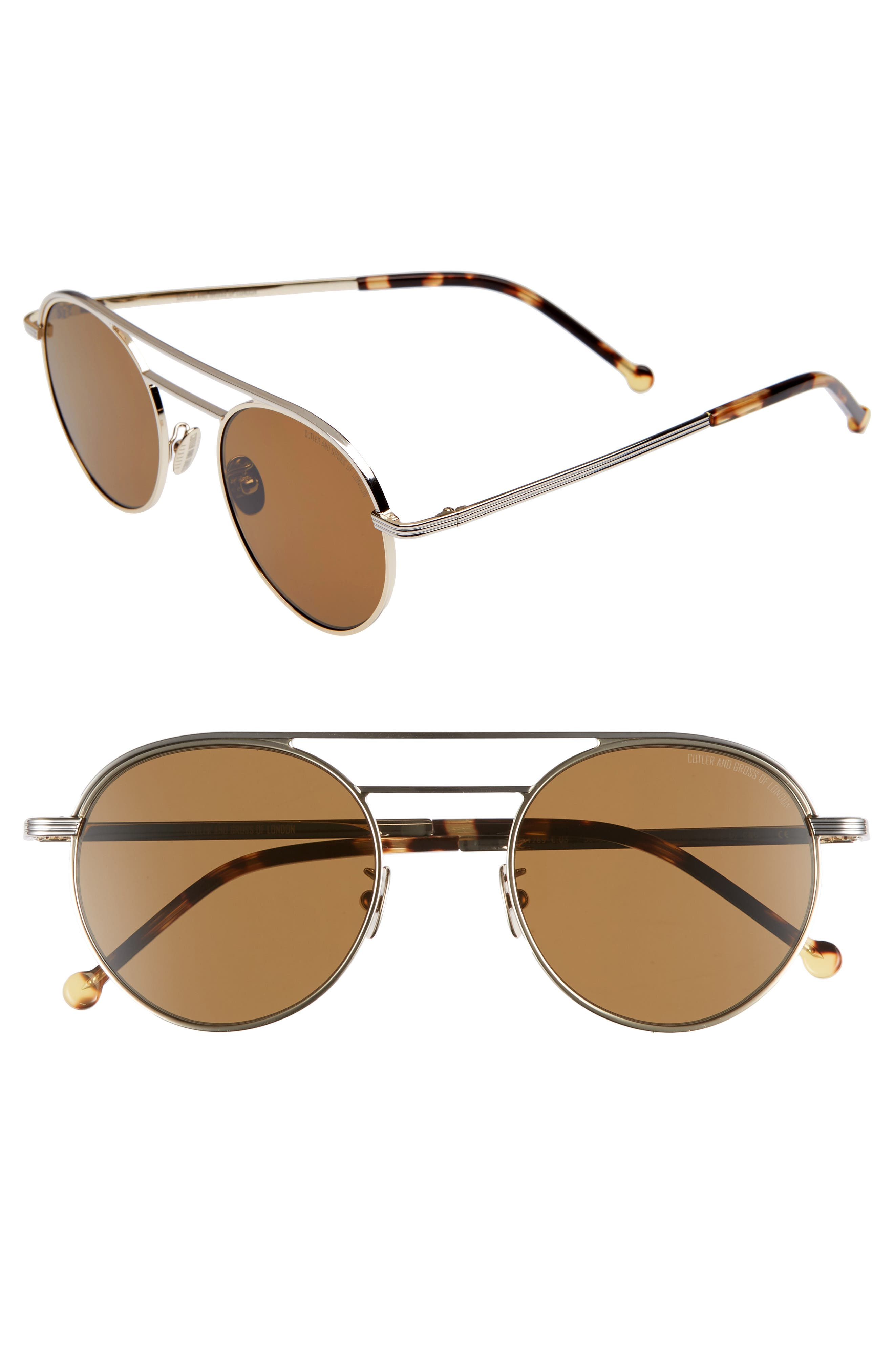 CUTLER AND GROSS 50MM POLARIZED ROUND SUNGLASSES - GOLD/ BROWN