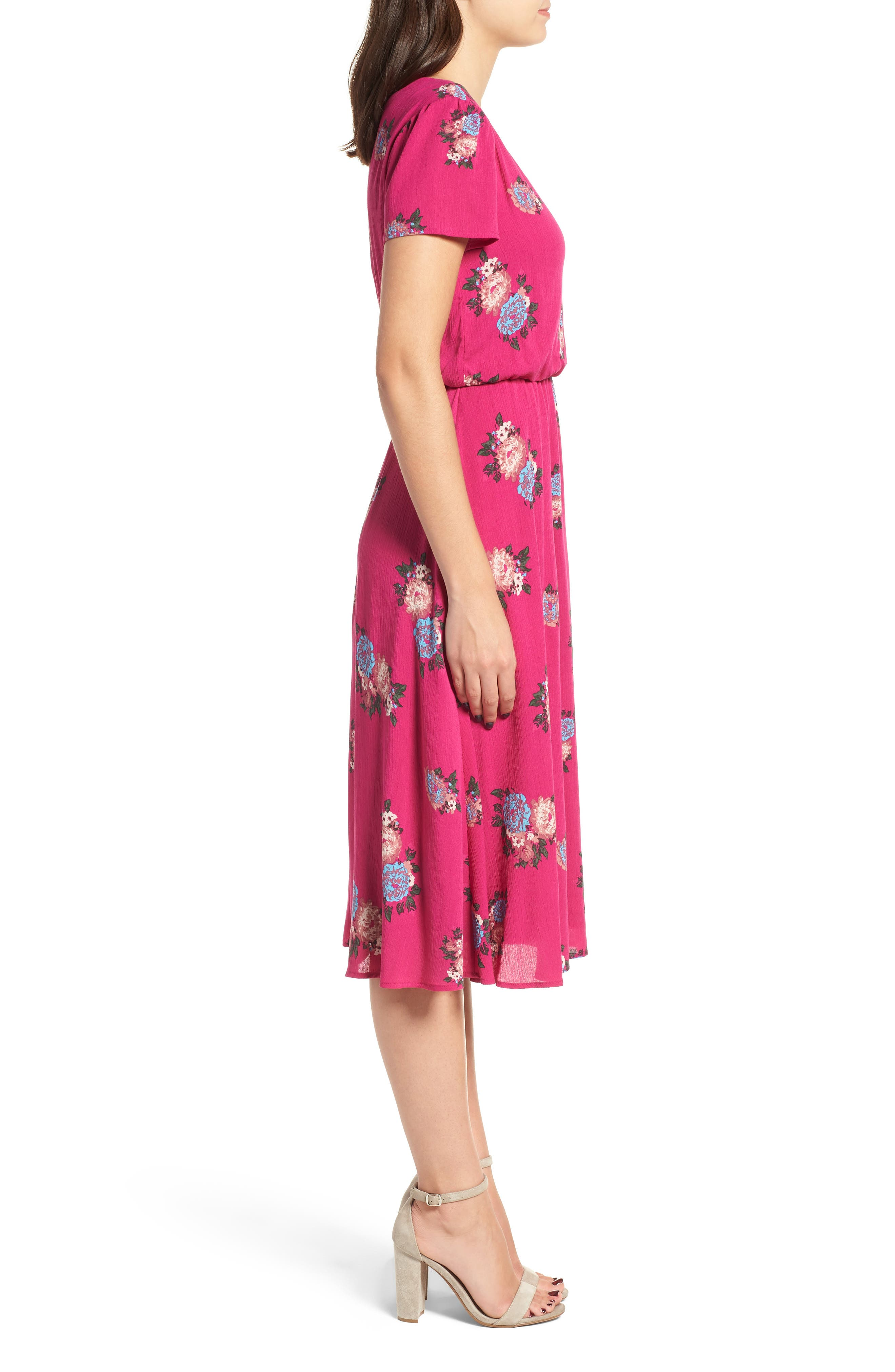 Blouson Midi Dress,                             Alternate thumbnail 3, color,                             Pink Berry Floral
