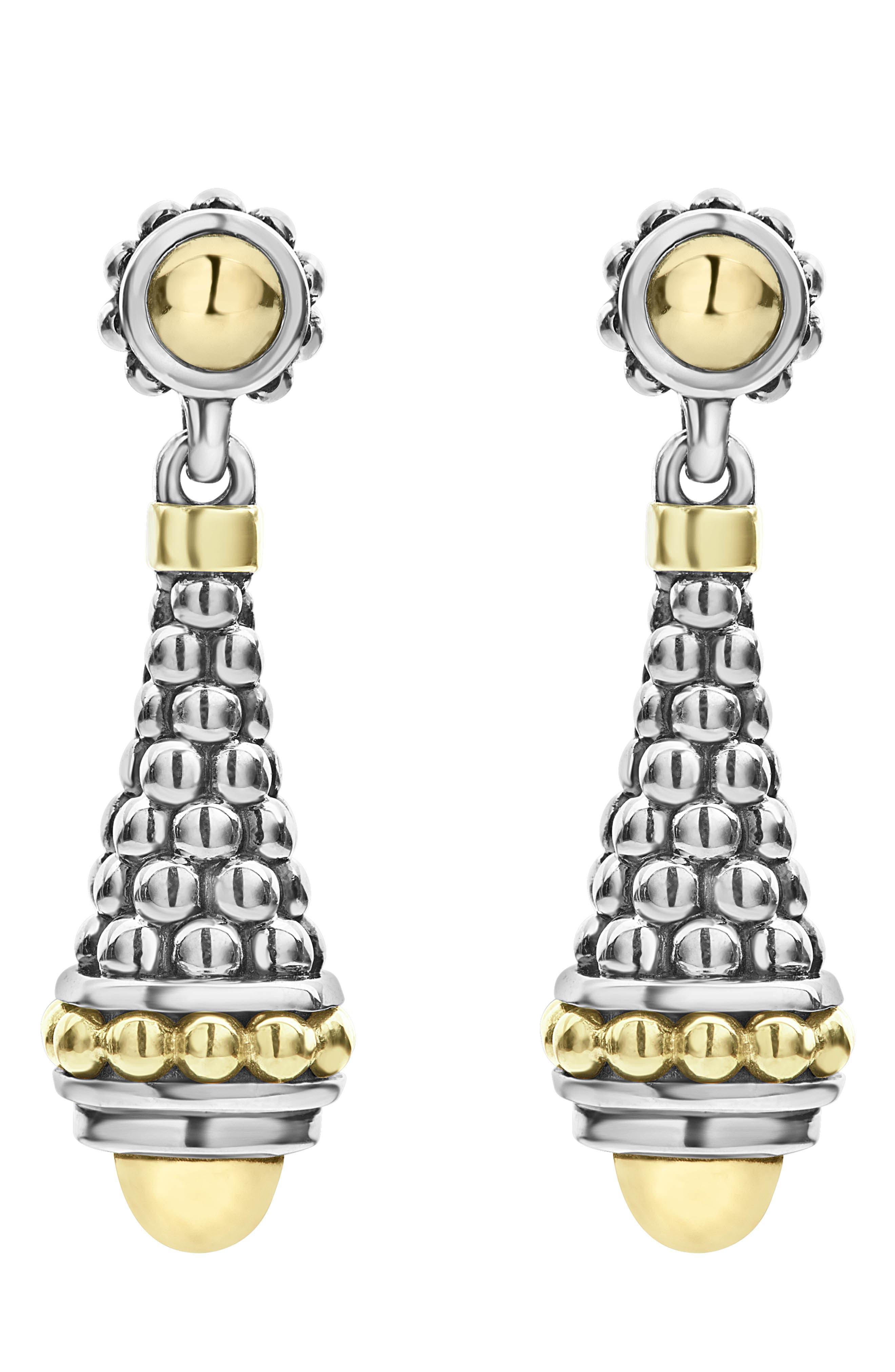 LAGOS SIGNATURE CAVIAR GOLD CAP DROP EARRINGS