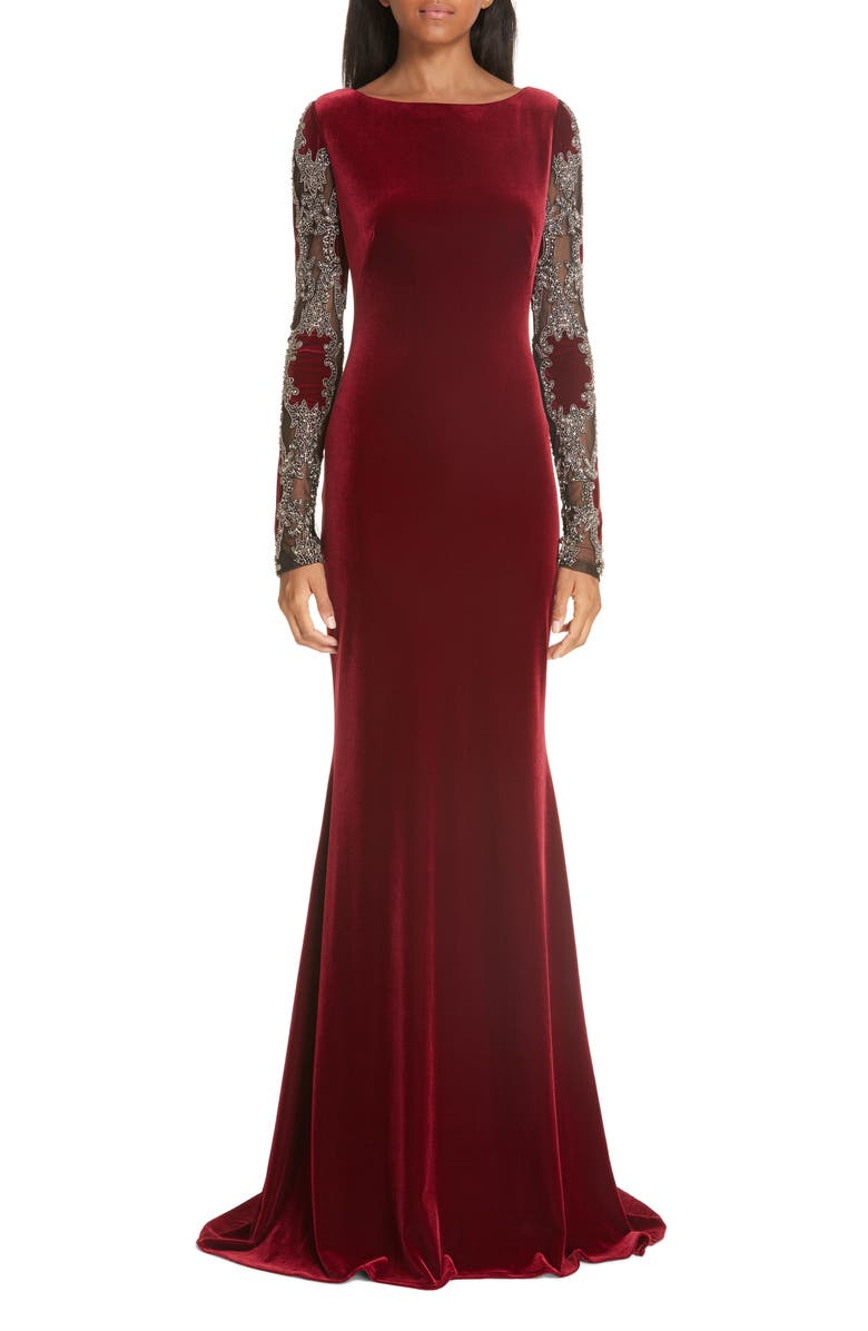 Badgley Mischka Embellished Sleeve Velvet Gown   Nordstrom