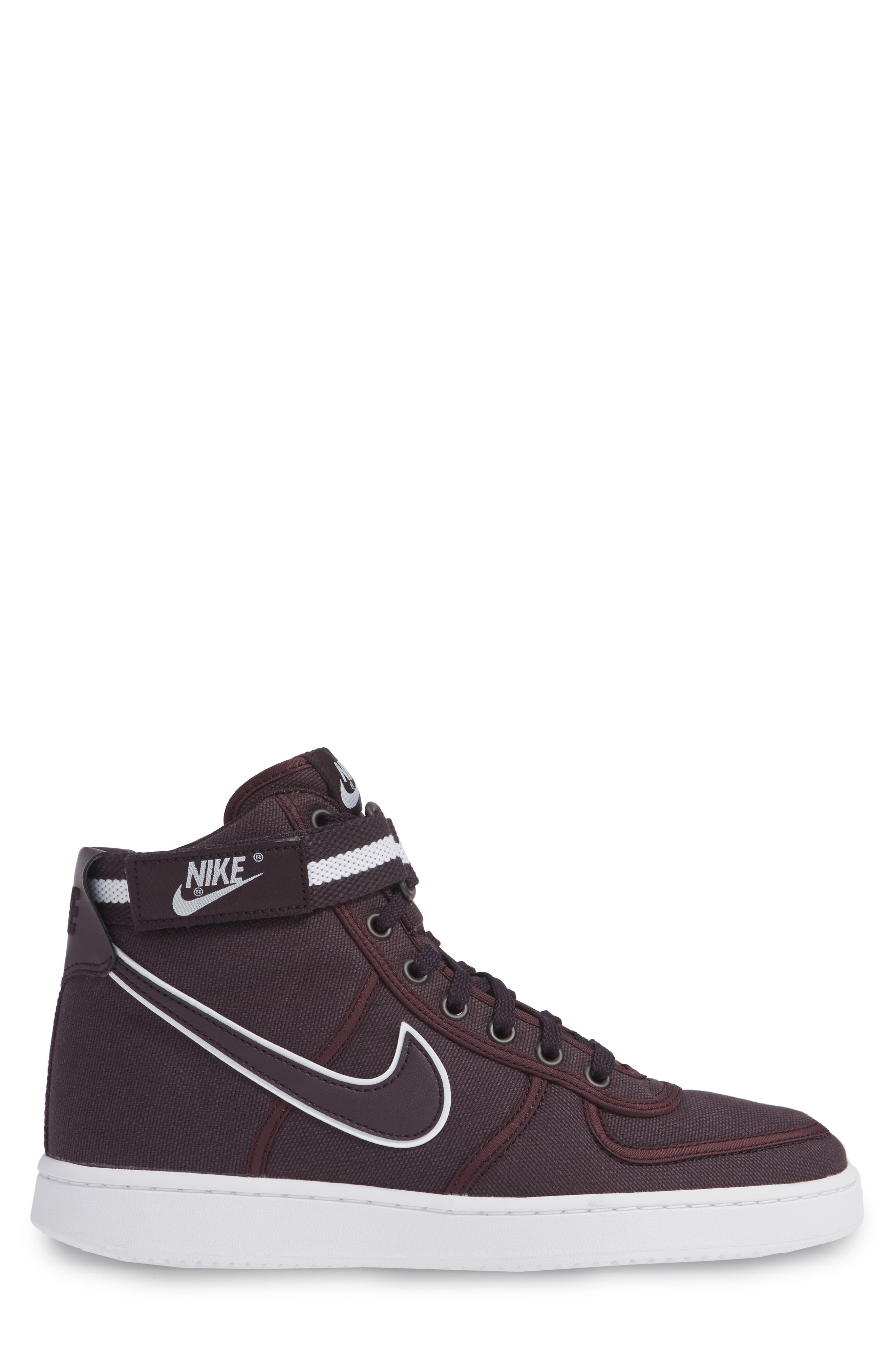 Vandal High Supreme High Top Sneaker,                             Alternate thumbnail 6, color,                             Burgundy Ash/ White