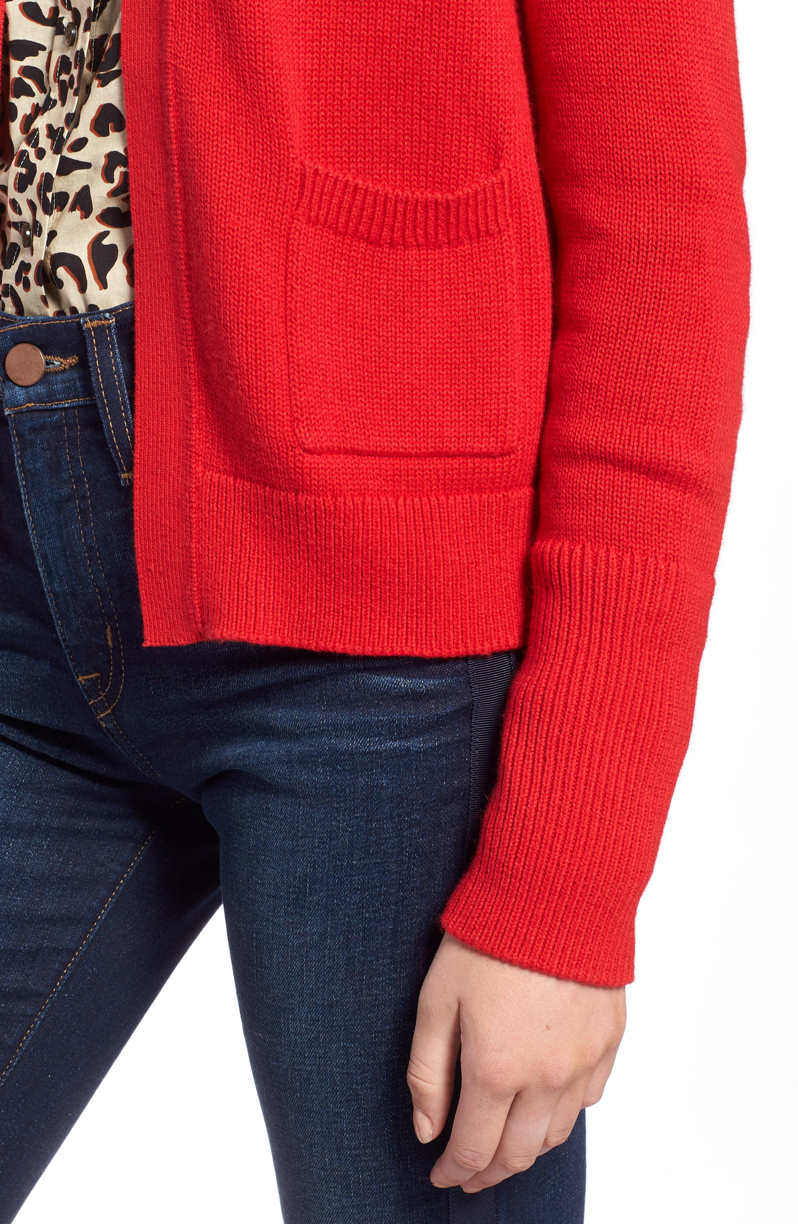 Cotton Cashmere Colorblock Cardigan,                             Alternate thumbnail 4, color,                             Red Chinoise
