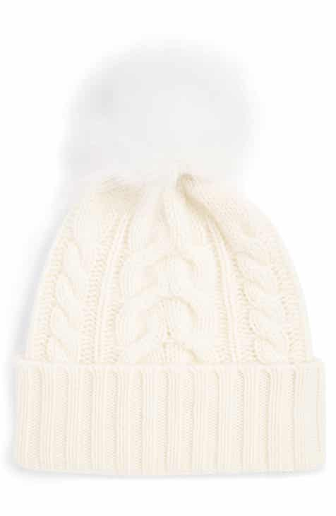 57d6530999a Halogen® Cashmere Cable Knit Beanie with Faux Fur Pom
