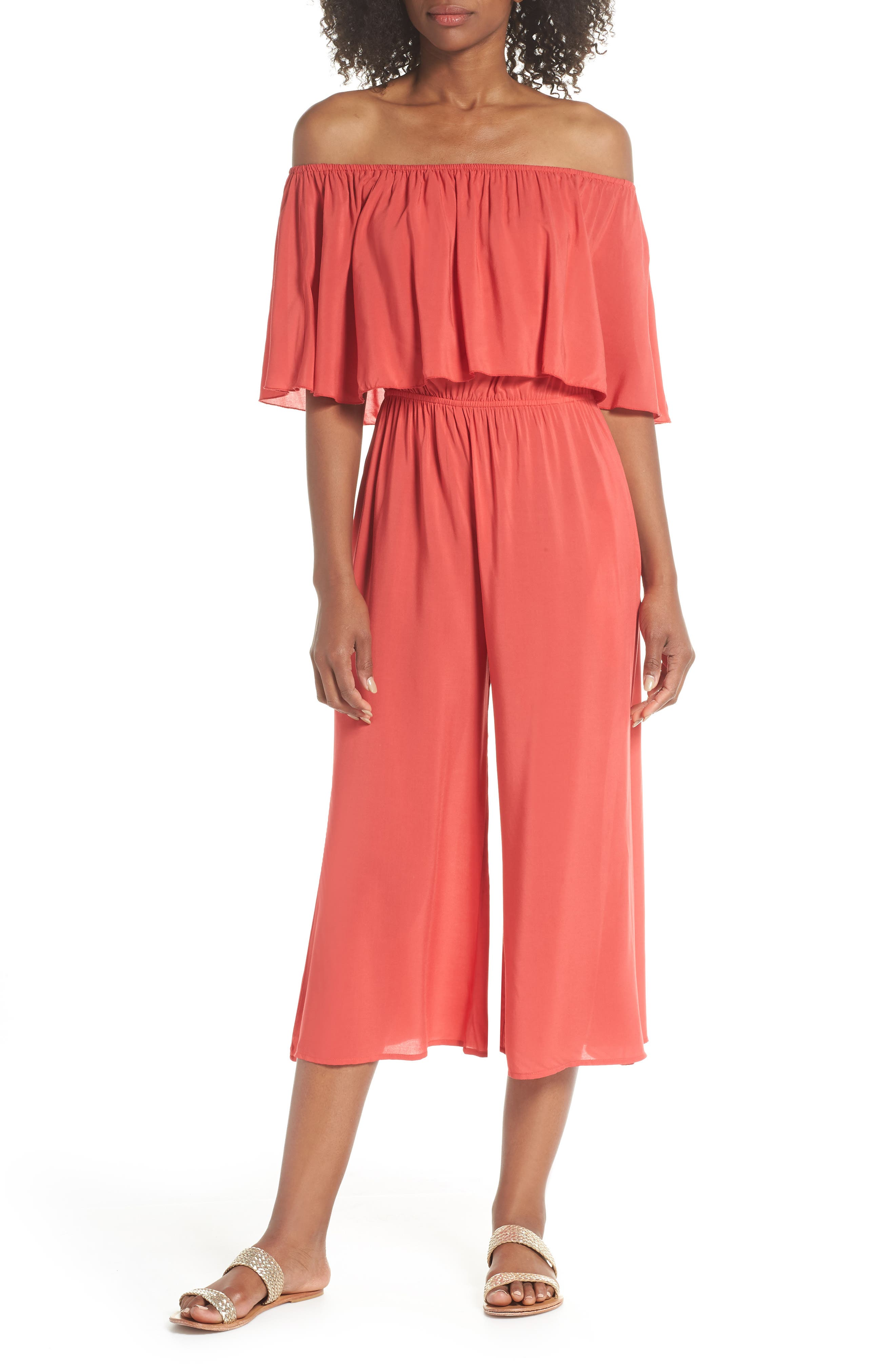 Off the Shoulder Cover-Up Jumpsuit,                             Main thumbnail 1, color,                             Coral