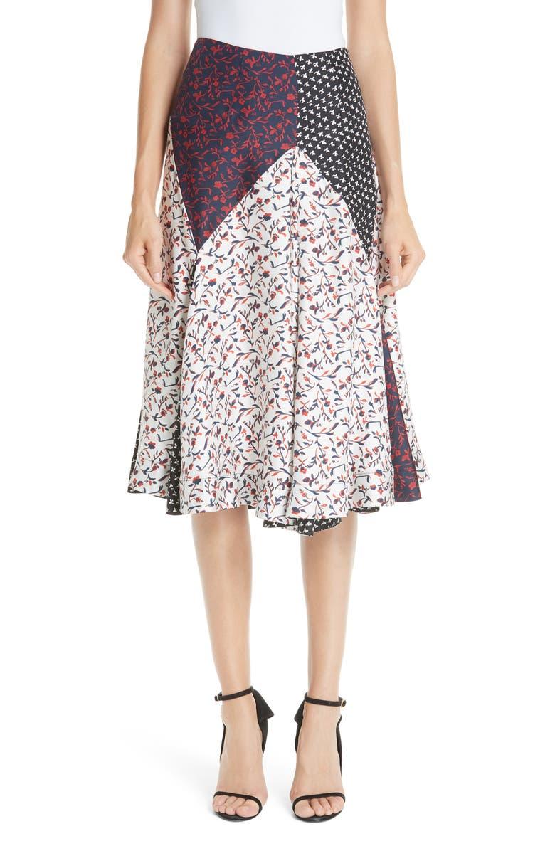 Patchwork Silk Tulip Skirt