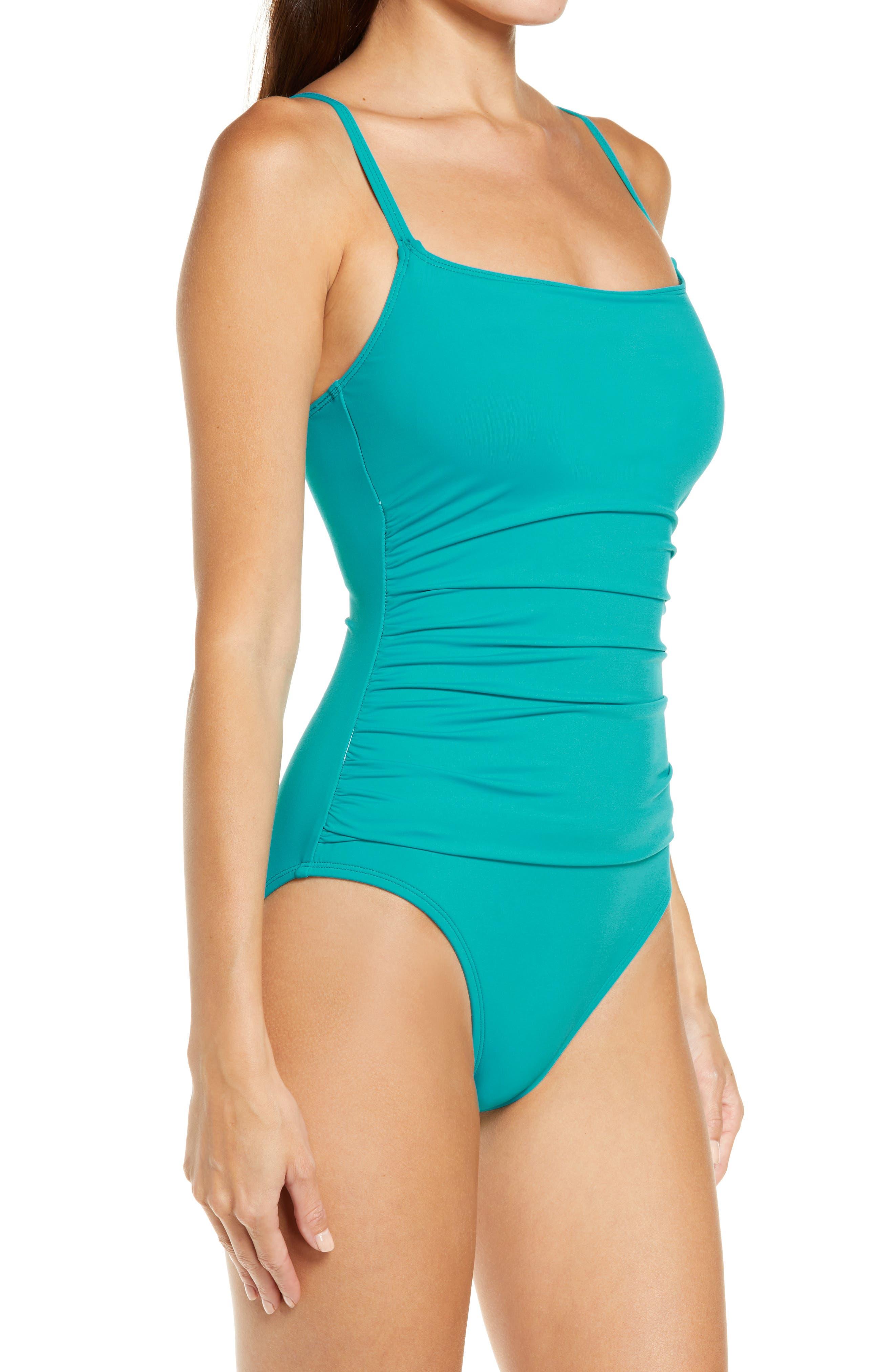 'Island Goddess' One-Piece Swimsuit,                             Alternate thumbnail 4, color,                             Marina
