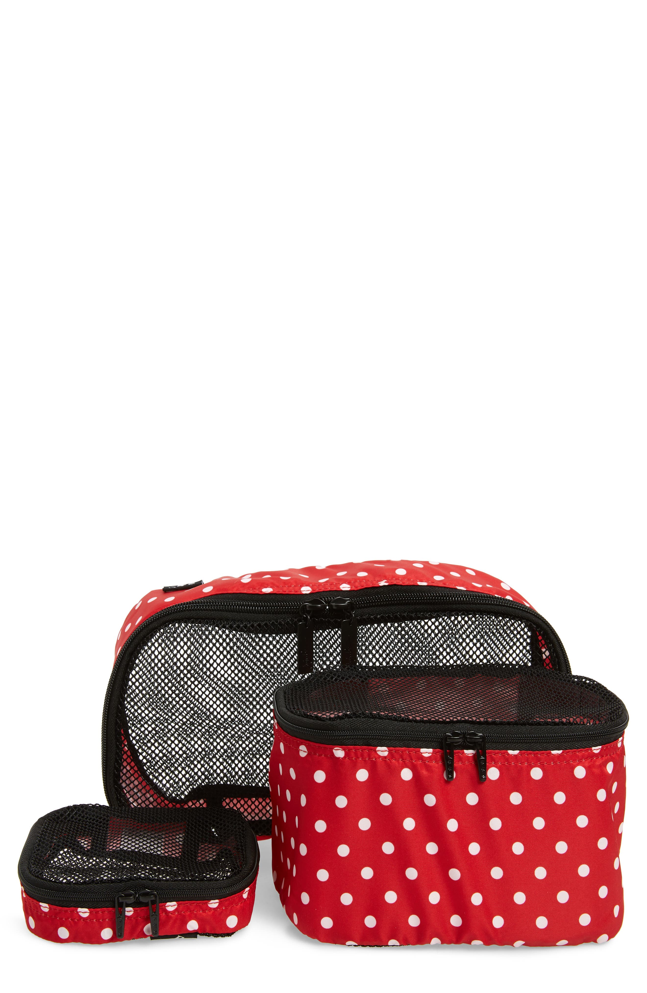Be Organized Set of 3 Top Zip Cases,                         Main,                         color, Black Ruby