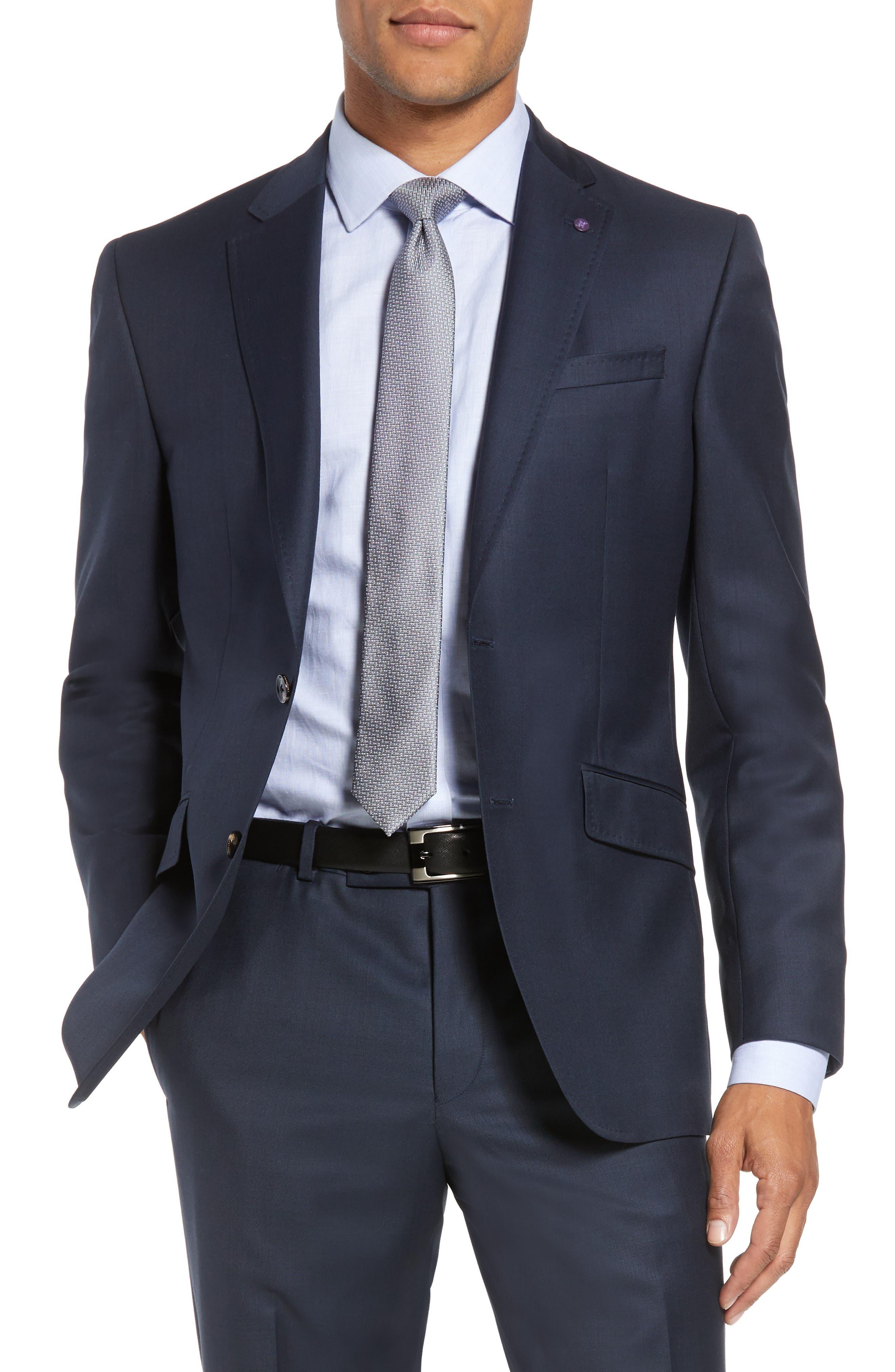 Jones Trim Fit Solid Wool Suit,                             Alternate thumbnail 5, color,                             Blue