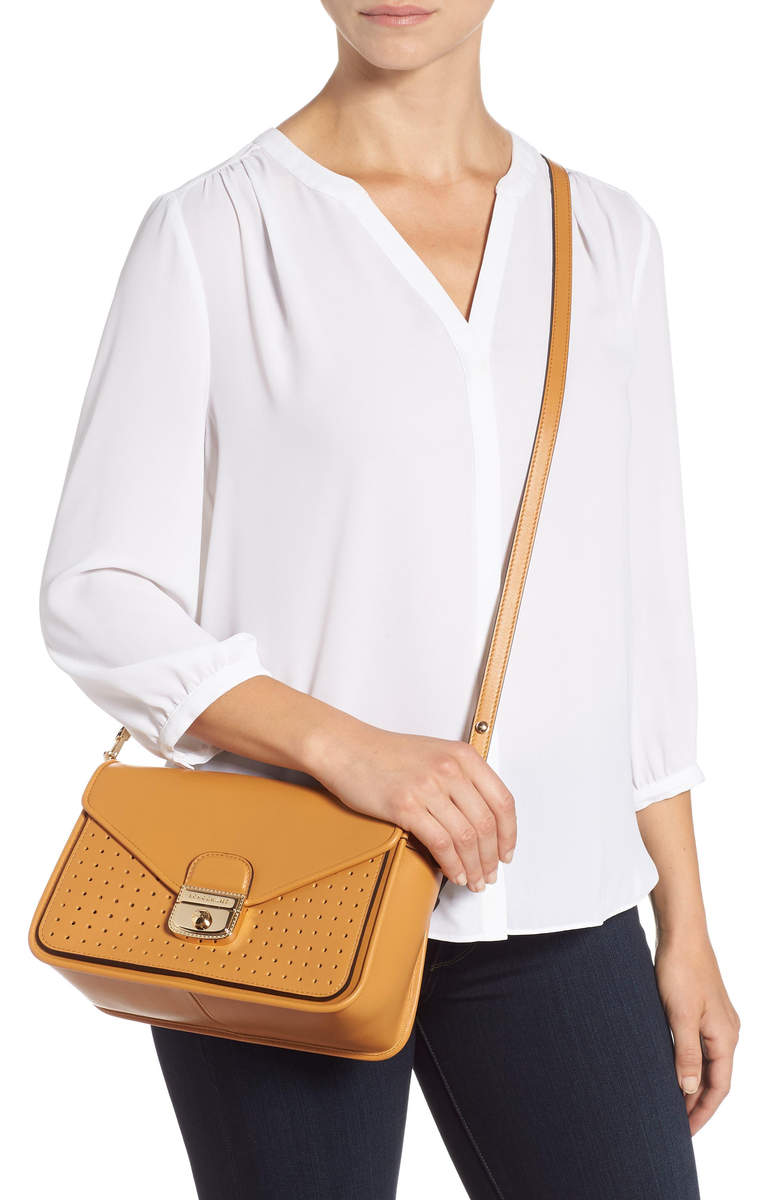 Mademoiselle Calfskin Leather Crossbody Bag,                             Alternate thumbnail 2, color,                             Honey