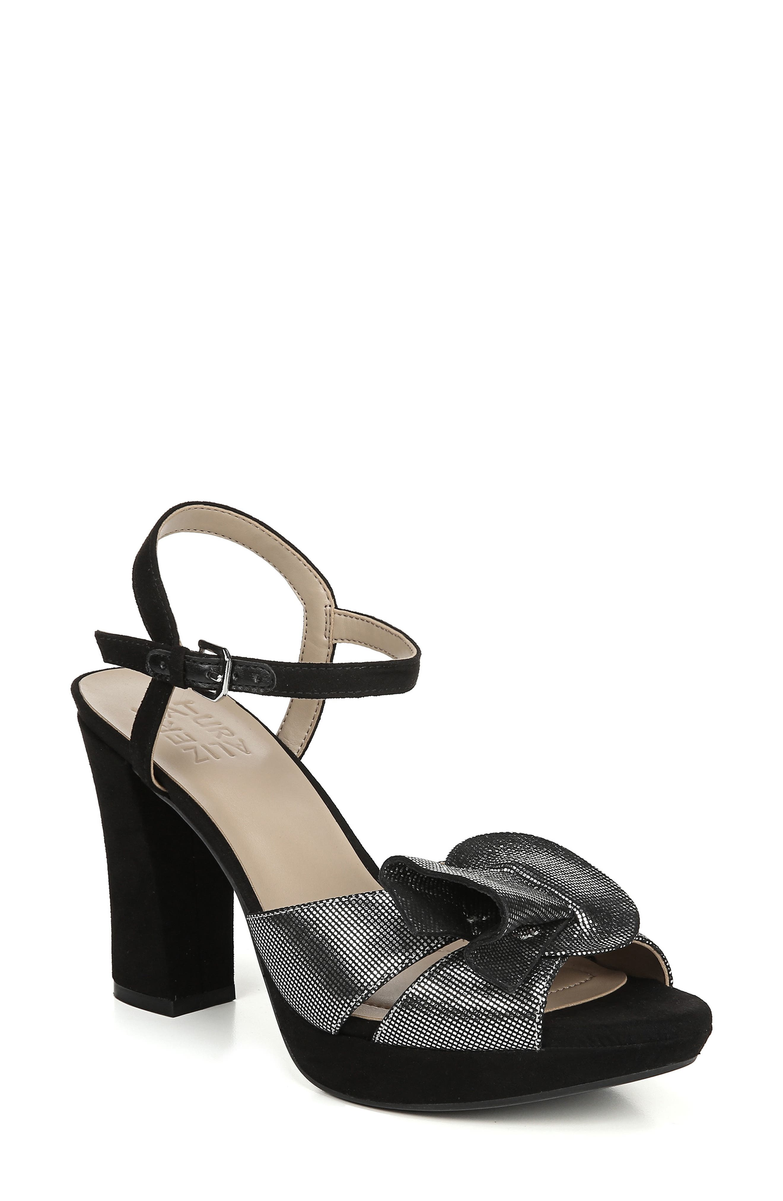 Adelle Sandal,                             Main thumbnail 1, color,                             Silver/ Black Leather
