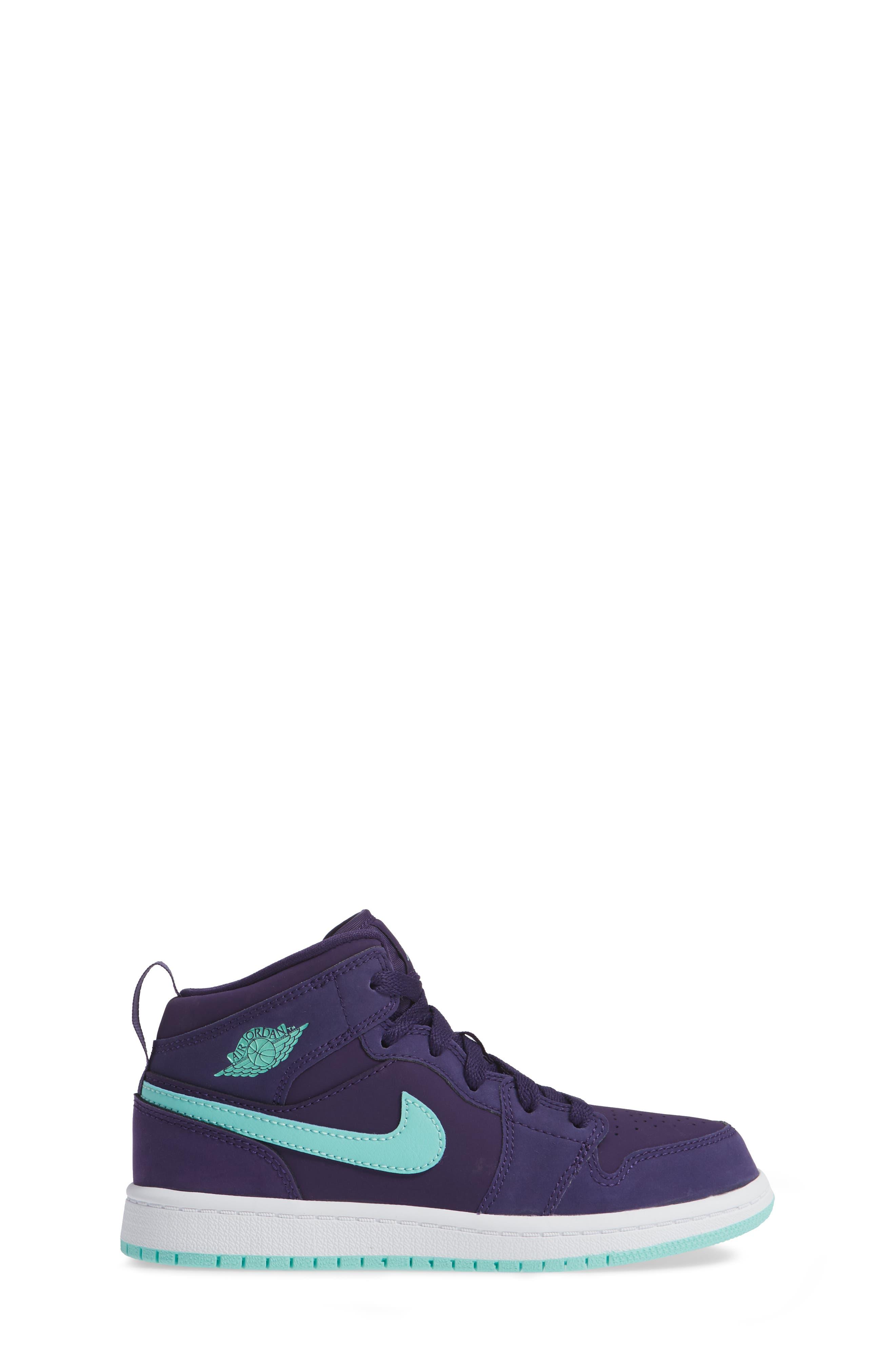 Nike 'Jordan 1 Mid' Basketball Shoe,                             Alternate thumbnail 3, color,                             Ink/ Emerald Rise/ White