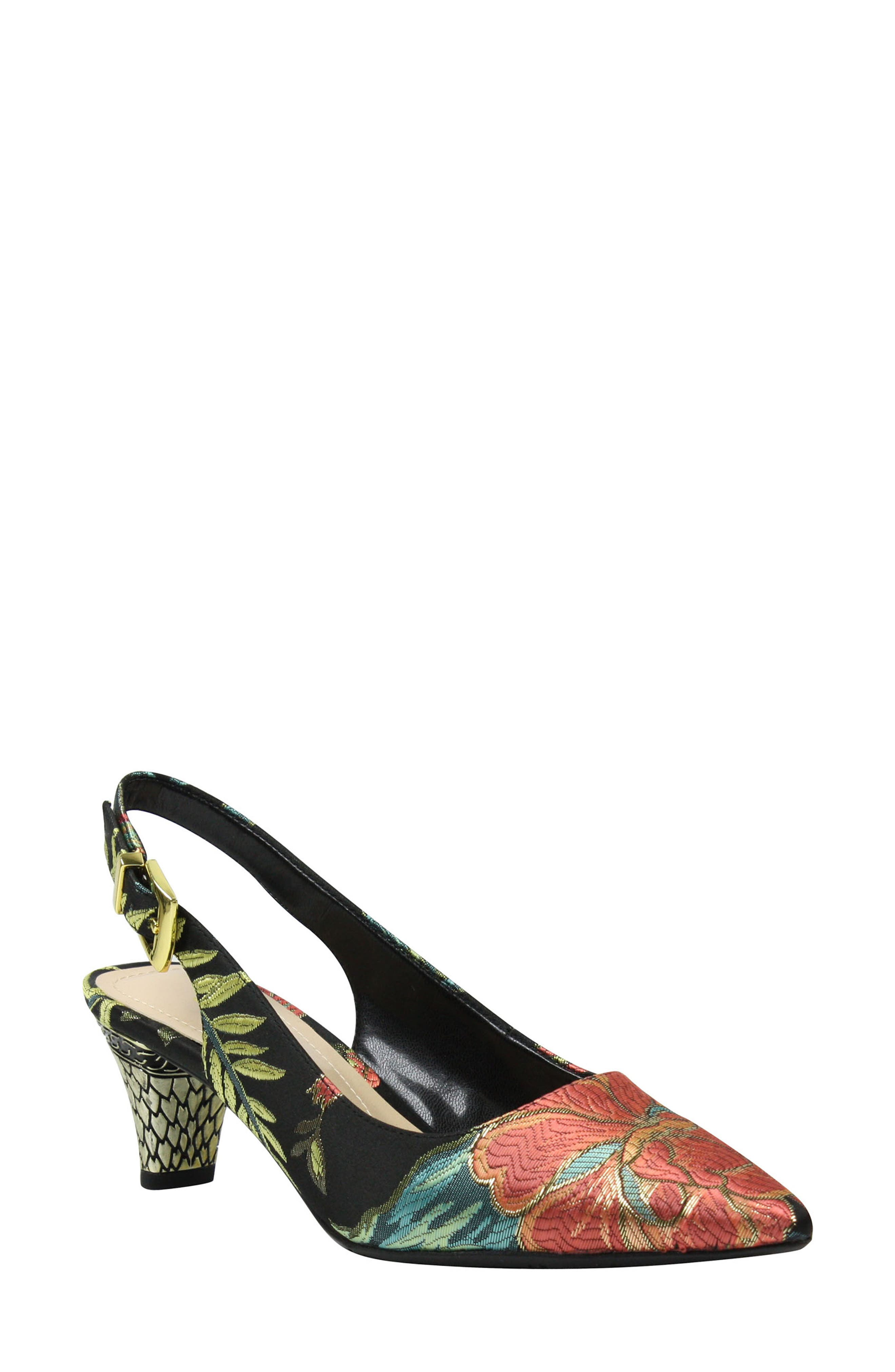 Mayetta Slingback Pump,                             Main thumbnail 1, color,                             Black/ Teal/ Coral Multi