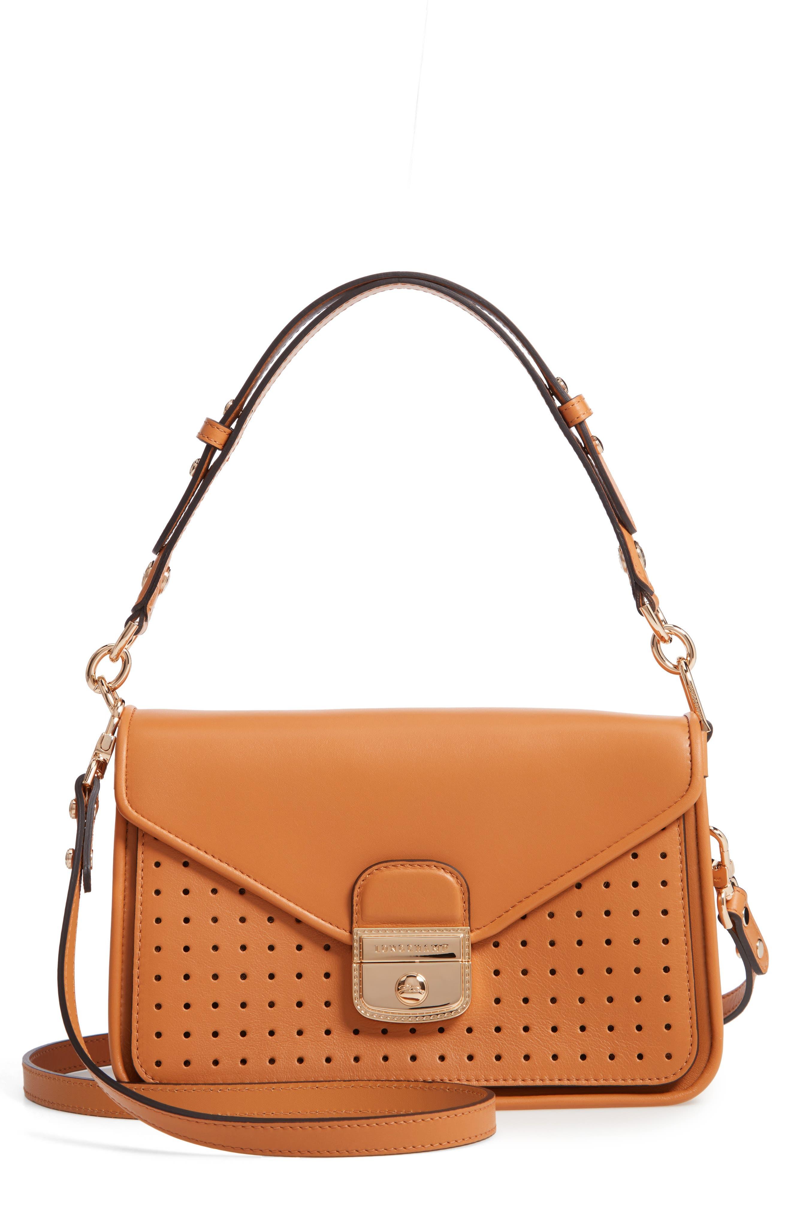 Mademoiselle Calfskin Leather Crossbody Bag,                             Main thumbnail 1, color,                             Honey