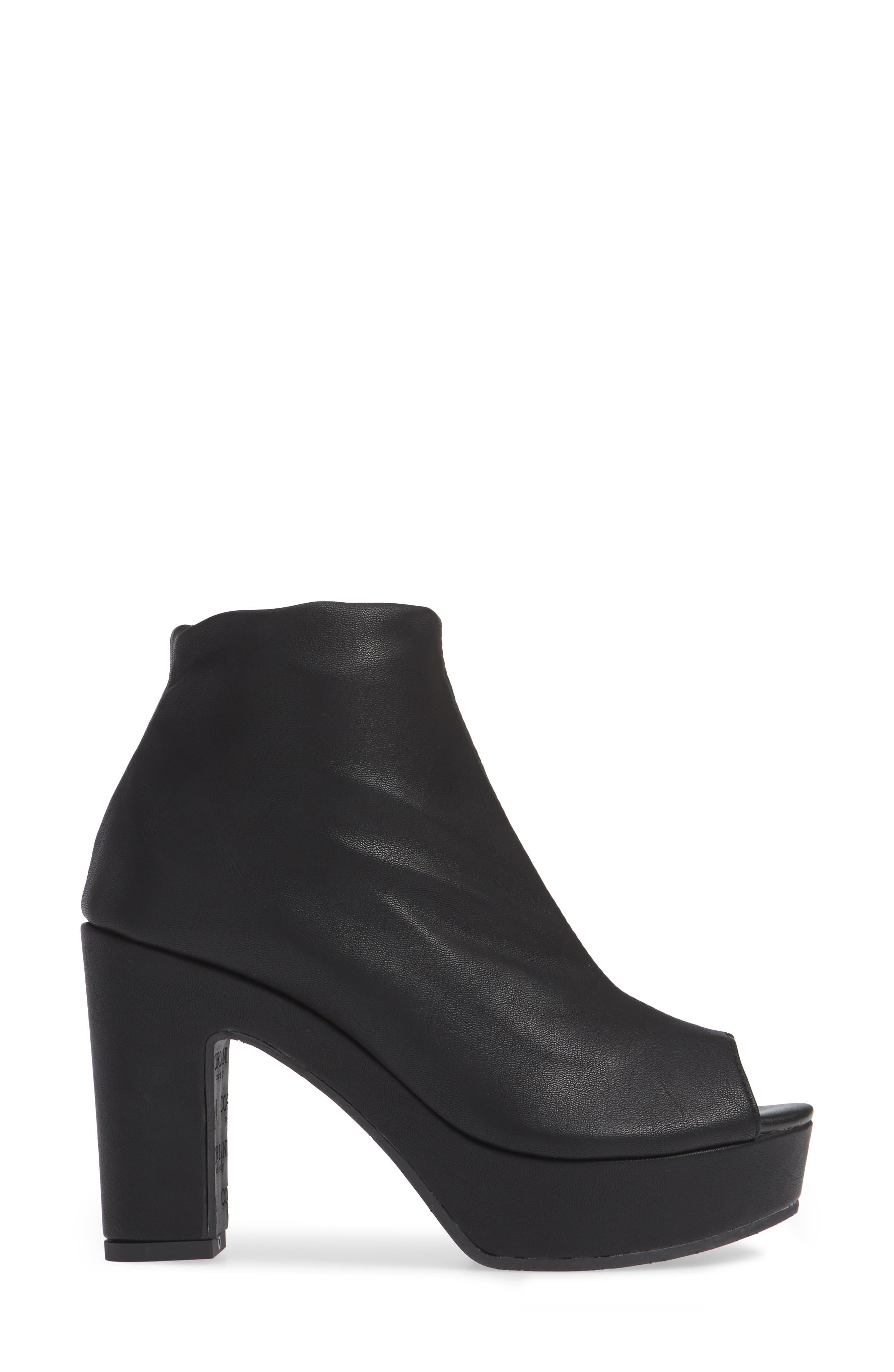 Tyra Peep Toe Platform Bootie,                             Alternate thumbnail 3, color,                             Black Fabric