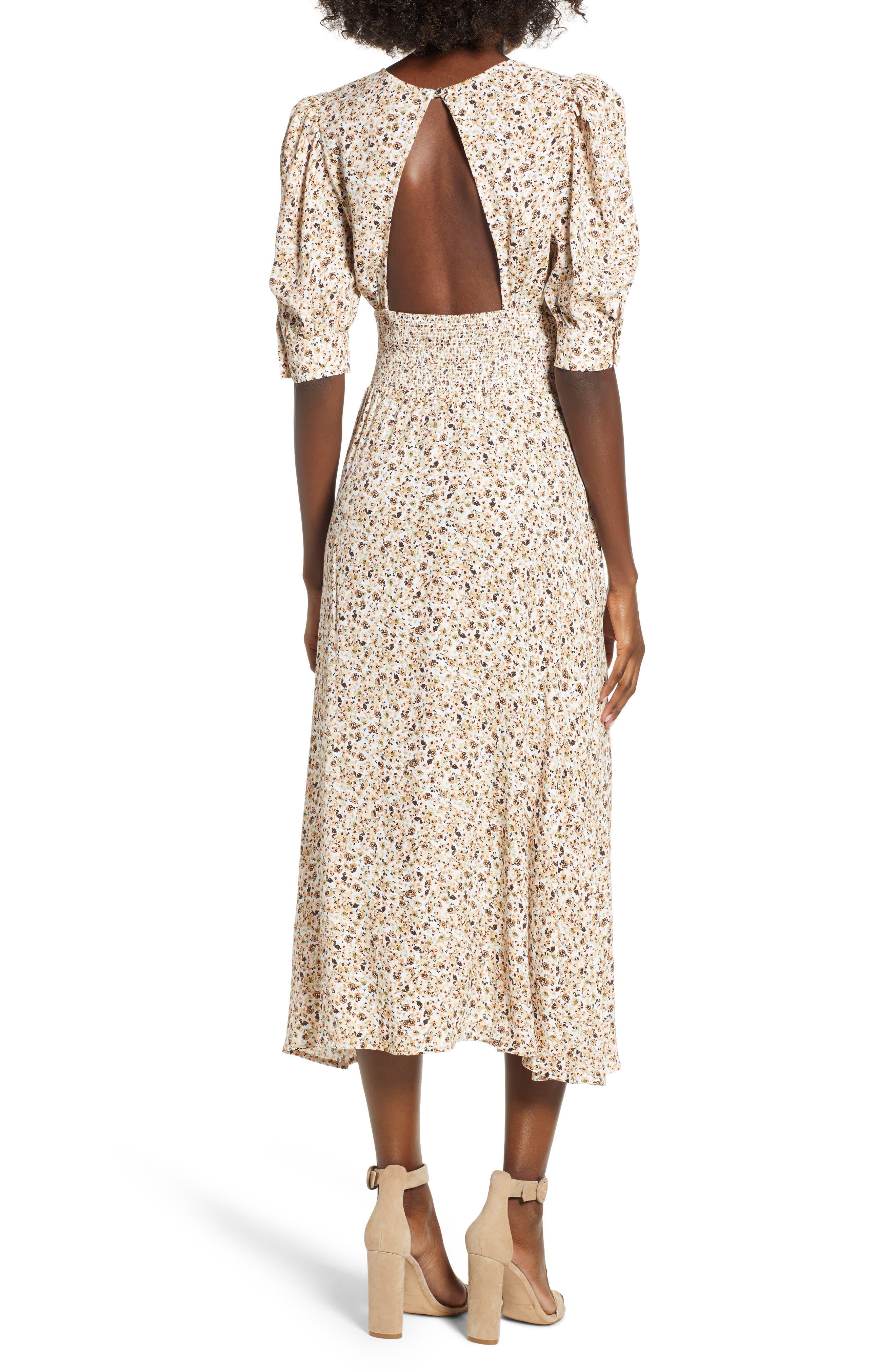 Lala Midi Dress,                             Alternate thumbnail 2, color,                             Beige Ditsy