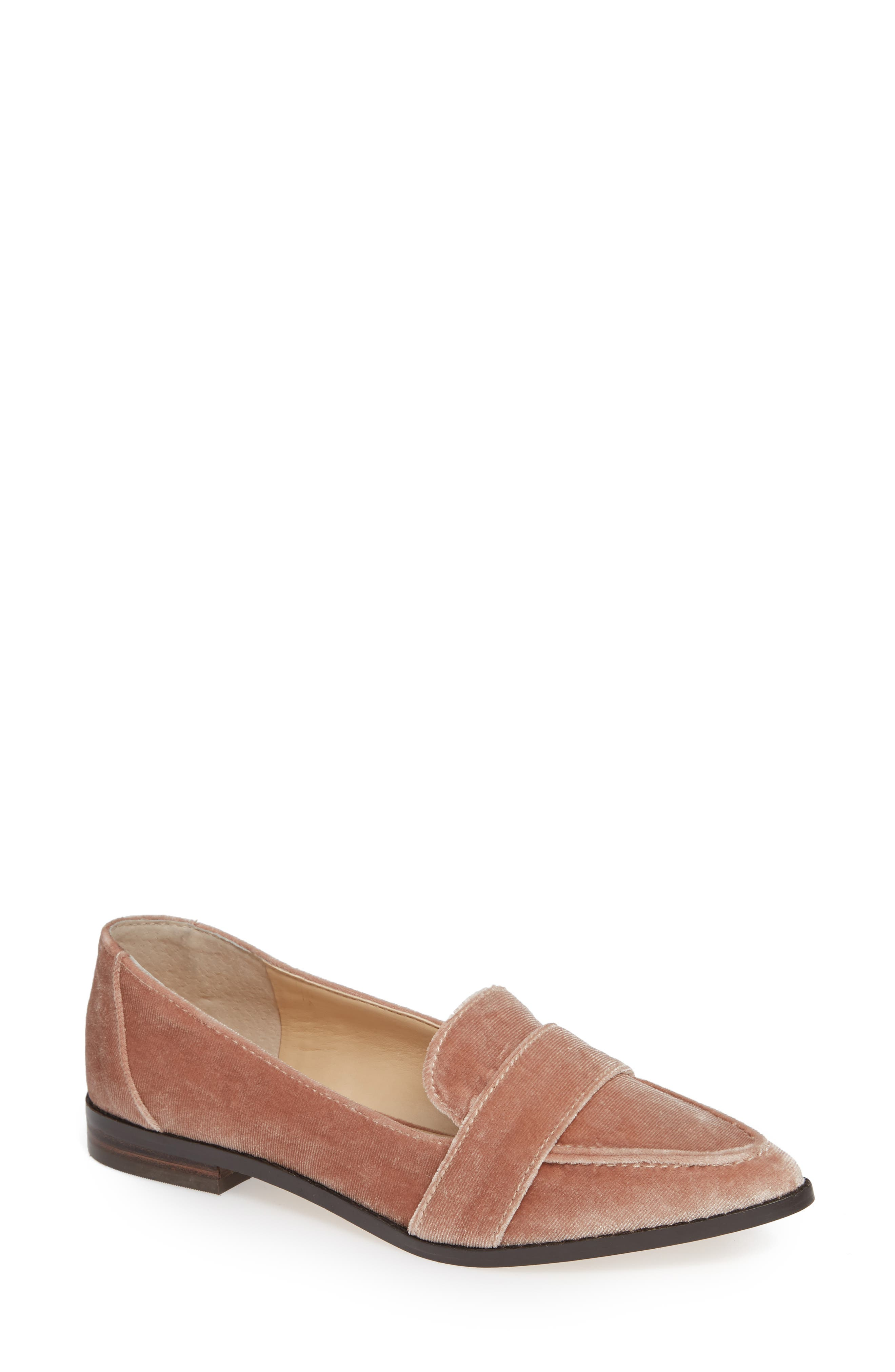 Edie Pointy Toe Loafer,                             Main thumbnail 1, color,                             Moonlight Velvet