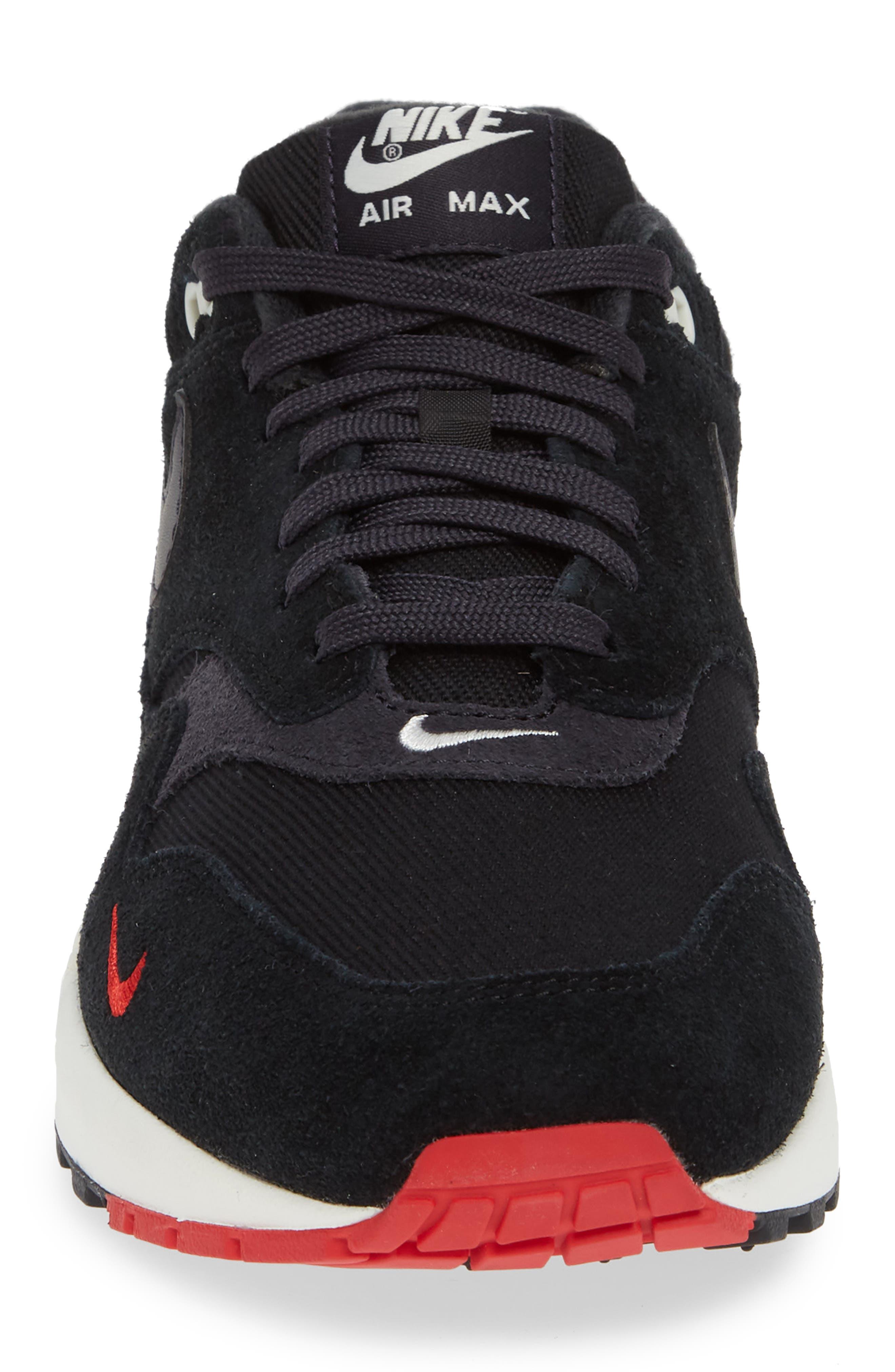 Air Max 1 Premium Sneaker,                             Alternate thumbnail 4, color,                             Black/ Grey/ University Red