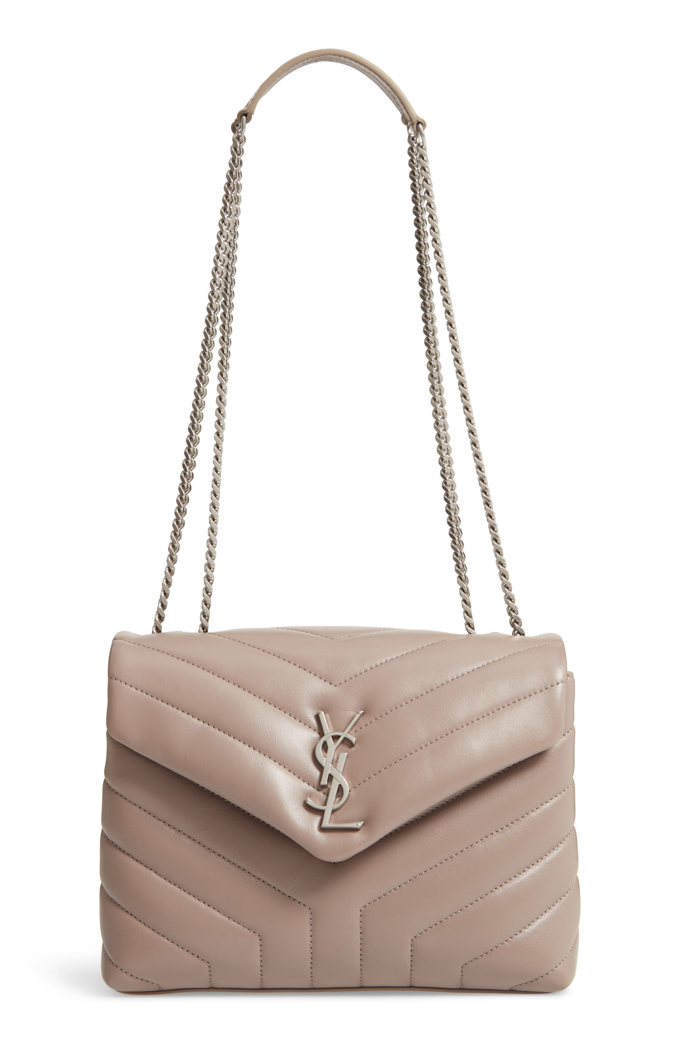 Loulou Monogram Ysl Small V-Flap Chain Shoulder Bag - Miroir Hardware in Taupe Sable