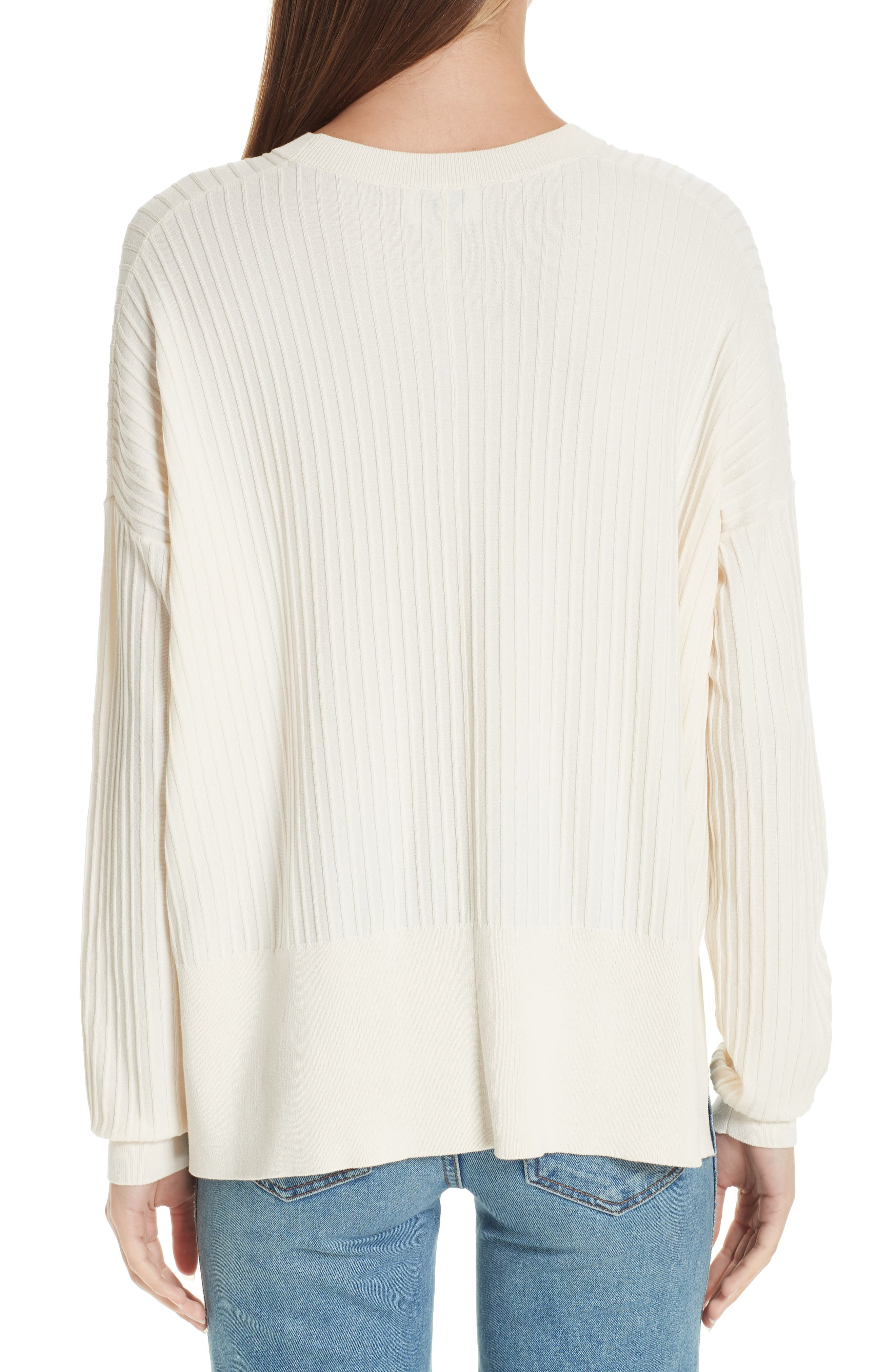 Issy Ribbed Sweater,                             Alternate thumbnail 2, color,                             Off-White