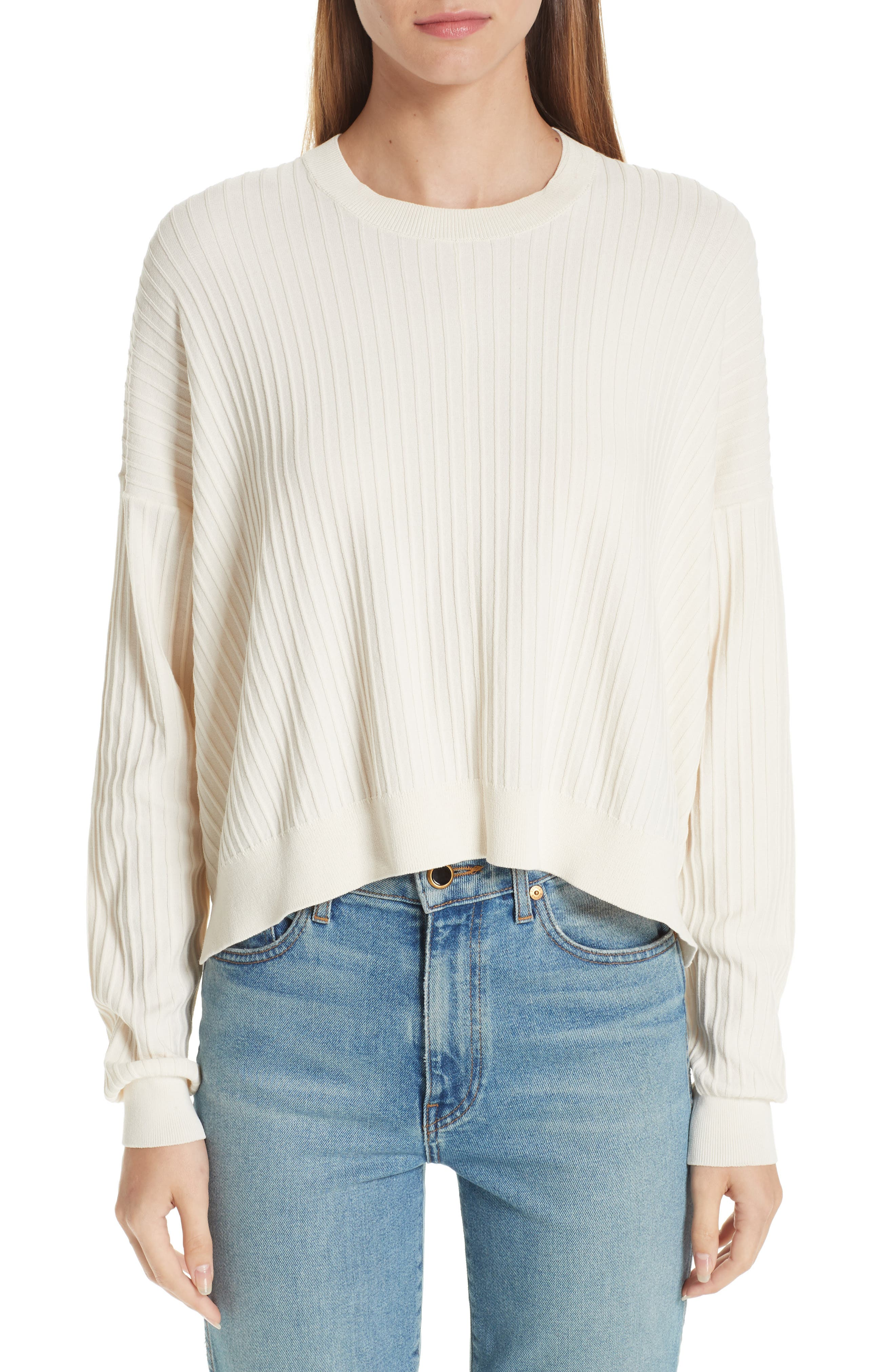 Issy Ribbed Sweater,                             Main thumbnail 1, color,                             Off-White